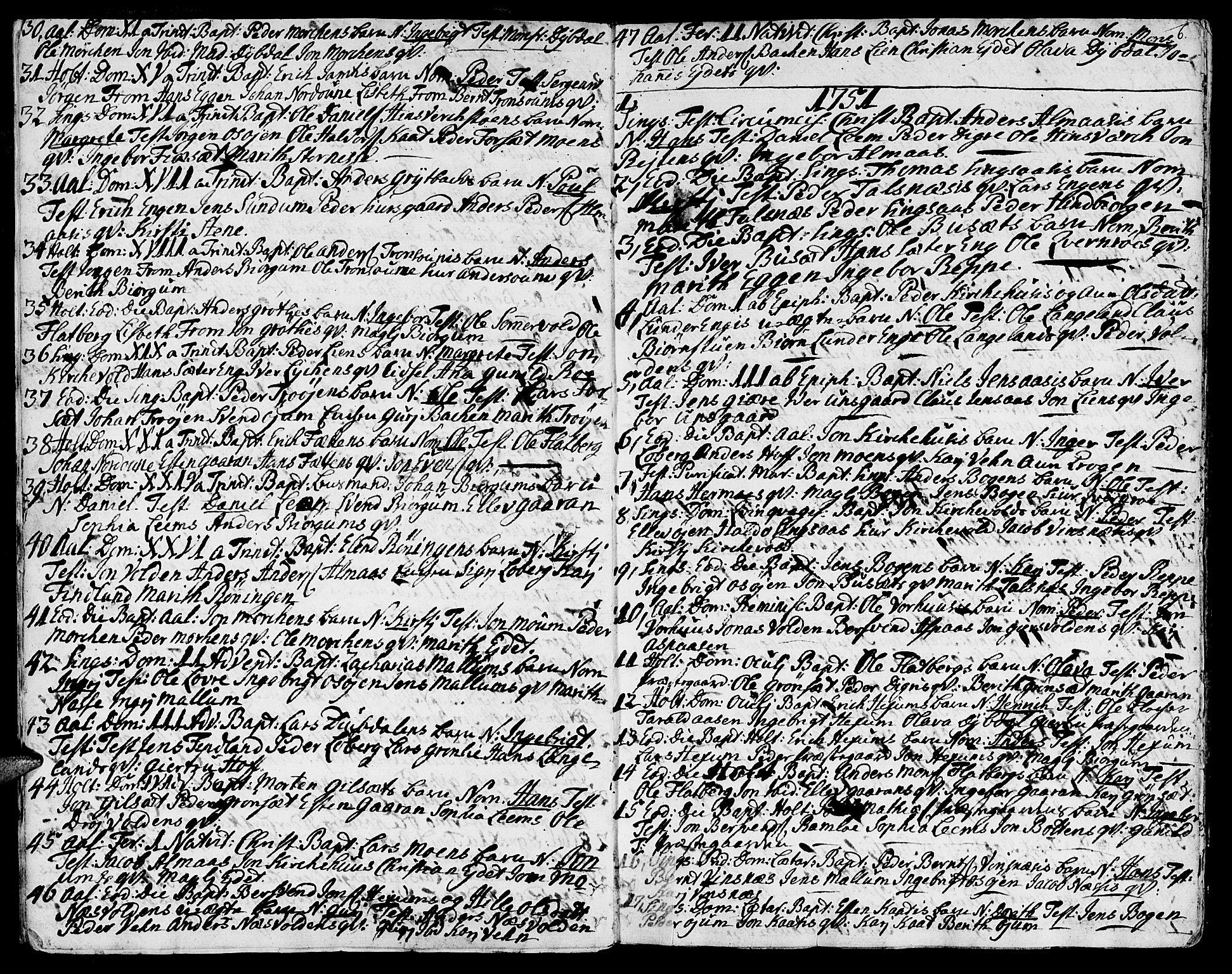 SAT, Ministerialprotokoller, klokkerbøker og fødselsregistre - Sør-Trøndelag, 685/L0952: Ministerialbok nr. 685A01, 1745-1804, s. 6