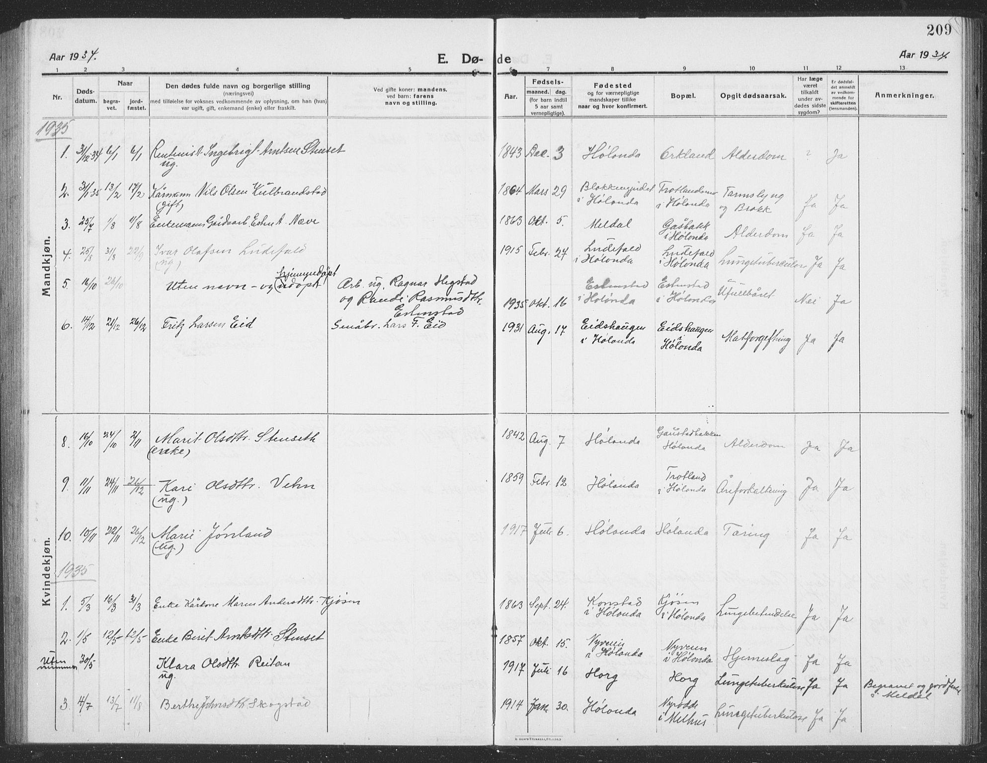 SAT, Ministerialprotokoller, klokkerbøker og fødselsregistre - Sør-Trøndelag, 694/L1134: Klokkerbok nr. 694C06, 1915-1937, s. 209