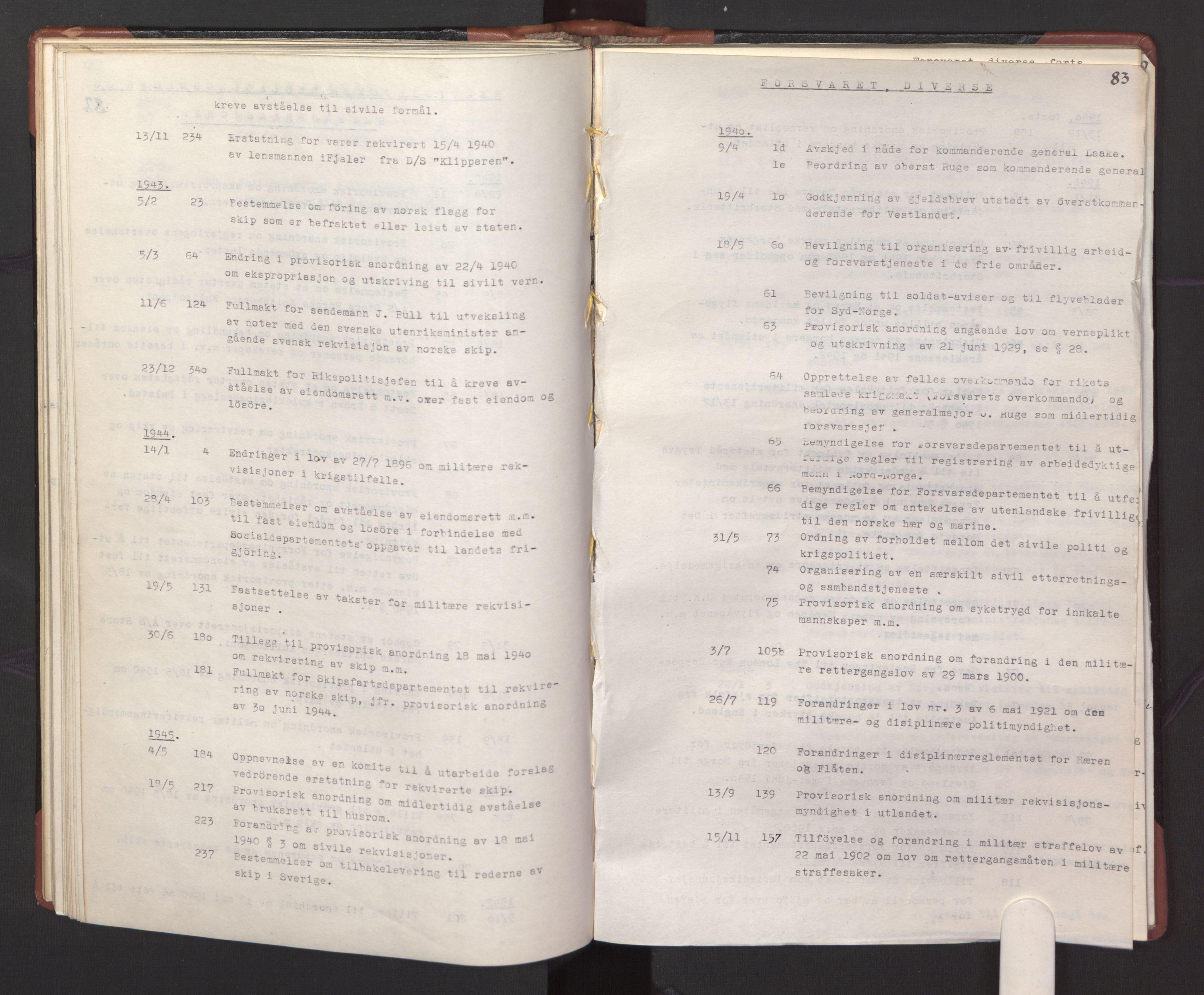 RA, Statsrådssekretariatet, A/Ac/L0127: Register 9/4-25/5, 1940-1945, s. 83