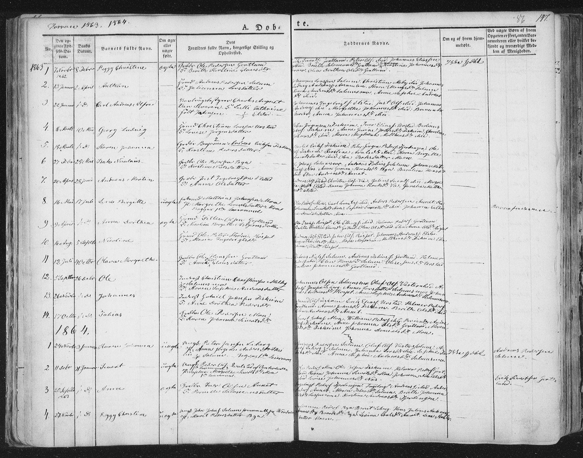 SAT, Ministerialprotokoller, klokkerbøker og fødselsregistre - Nord-Trøndelag, 758/L0513: Ministerialbok nr. 758A02 /3, 1839-1868, s. 86