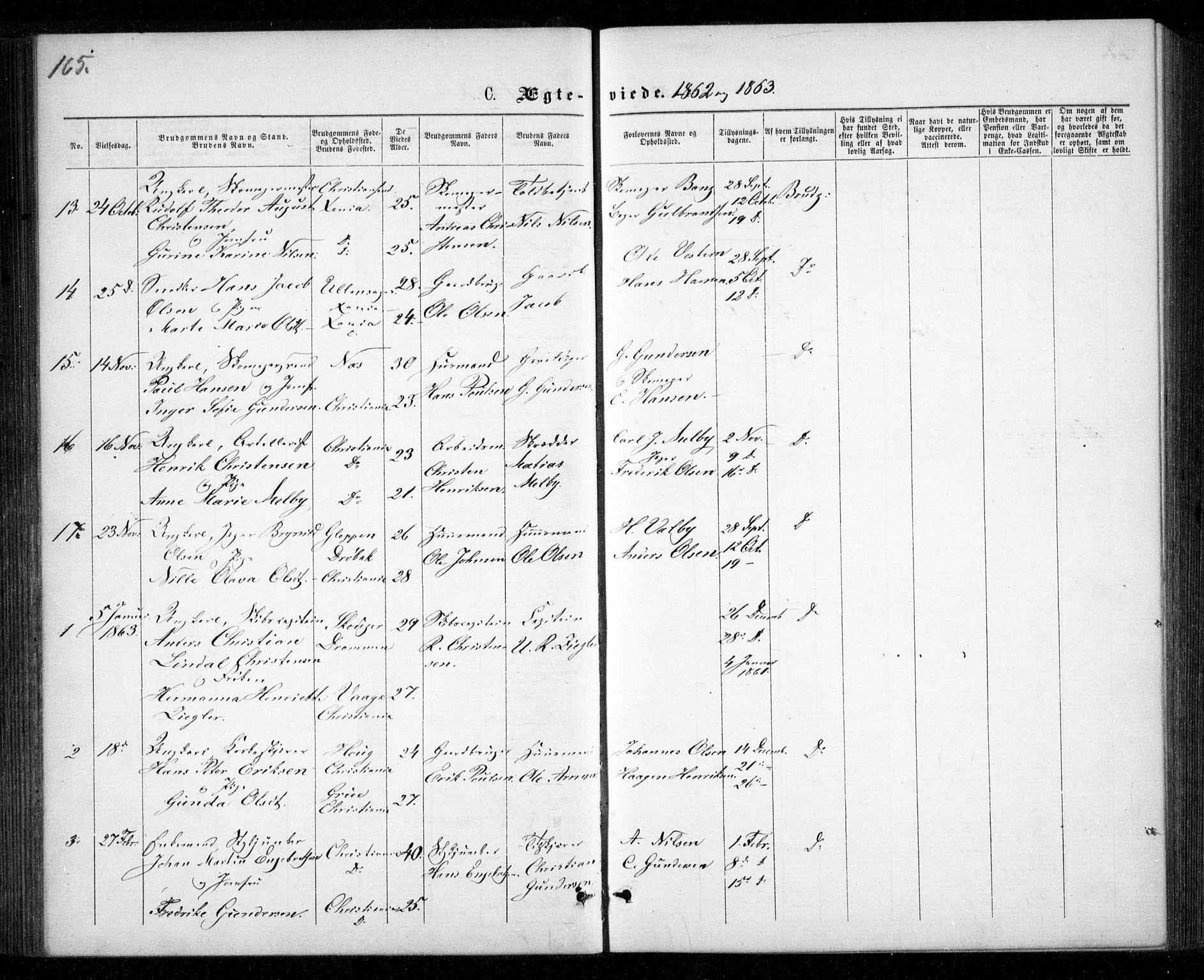 SAO, Garnisonsmenigheten Kirkebøker, G/Ga/L0006: Klokkerbok nr. 6, 1860-1880, s. 165