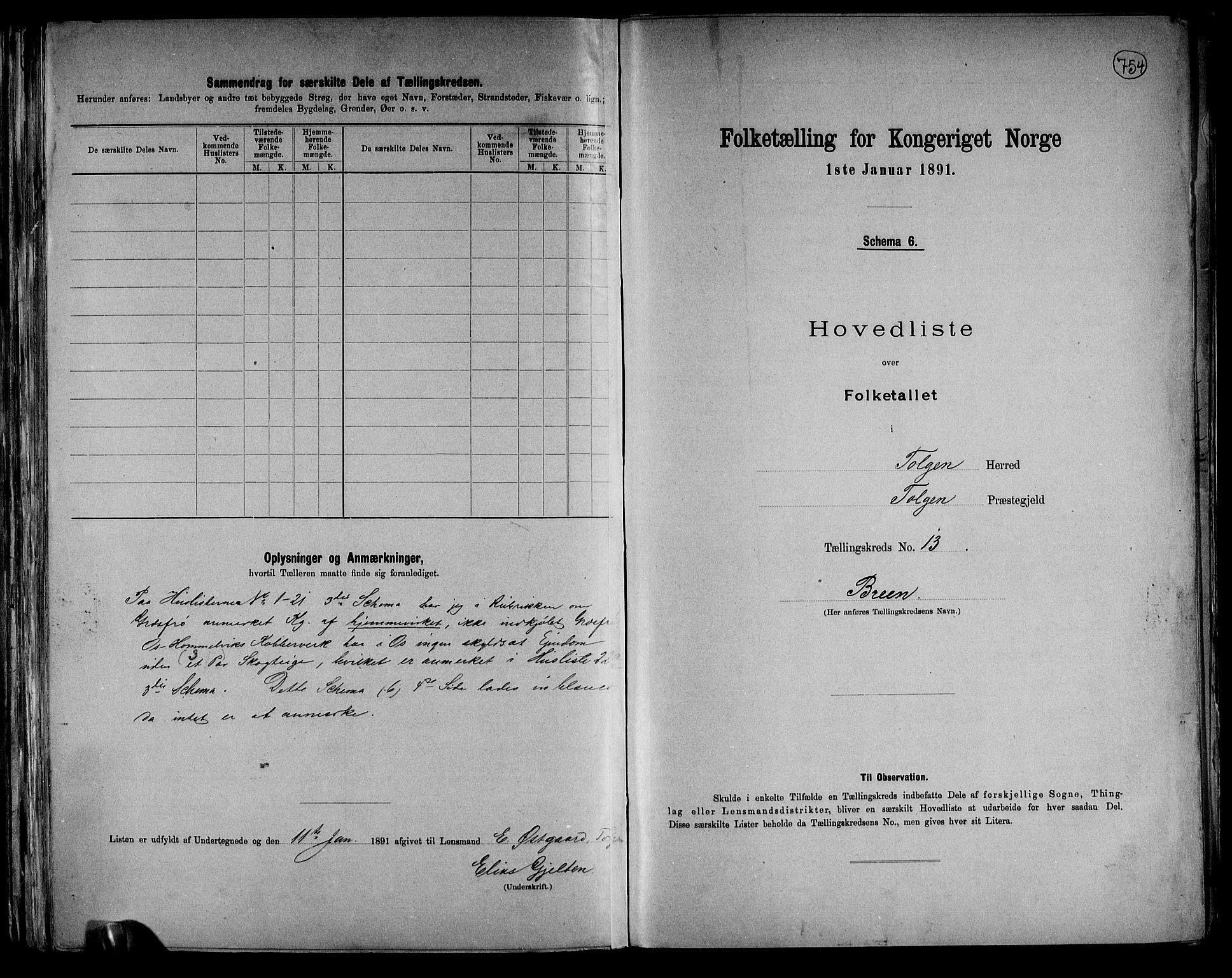 RA, Folketelling 1891 for 0436 Tolga herred, 1891, s. 40