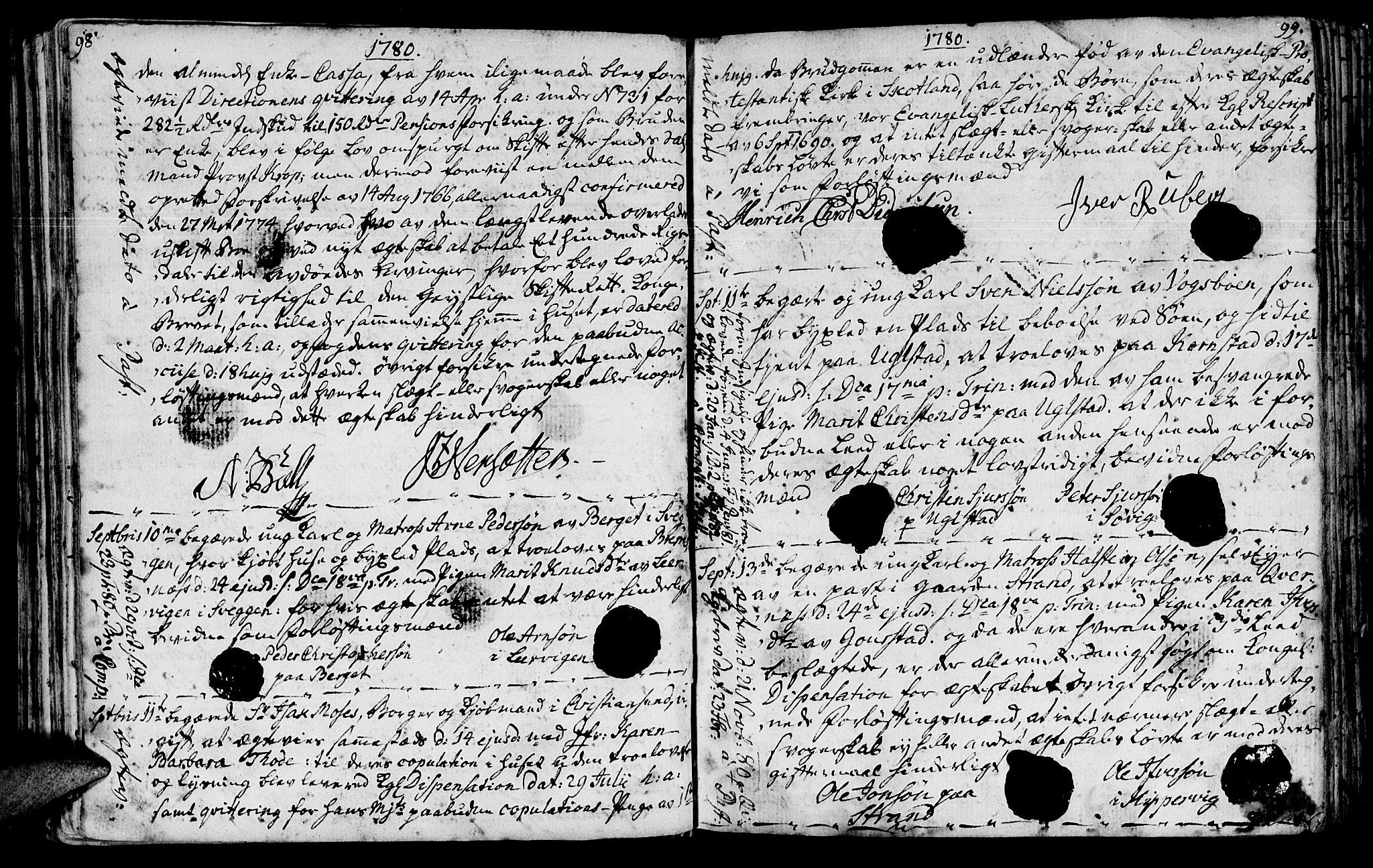 SAT, Ministerialprotokoller, klokkerbøker og fødselsregistre - Møre og Romsdal, 568/L0794: Ministerialbok nr. 568A03, 1764-1801, s. 98-99