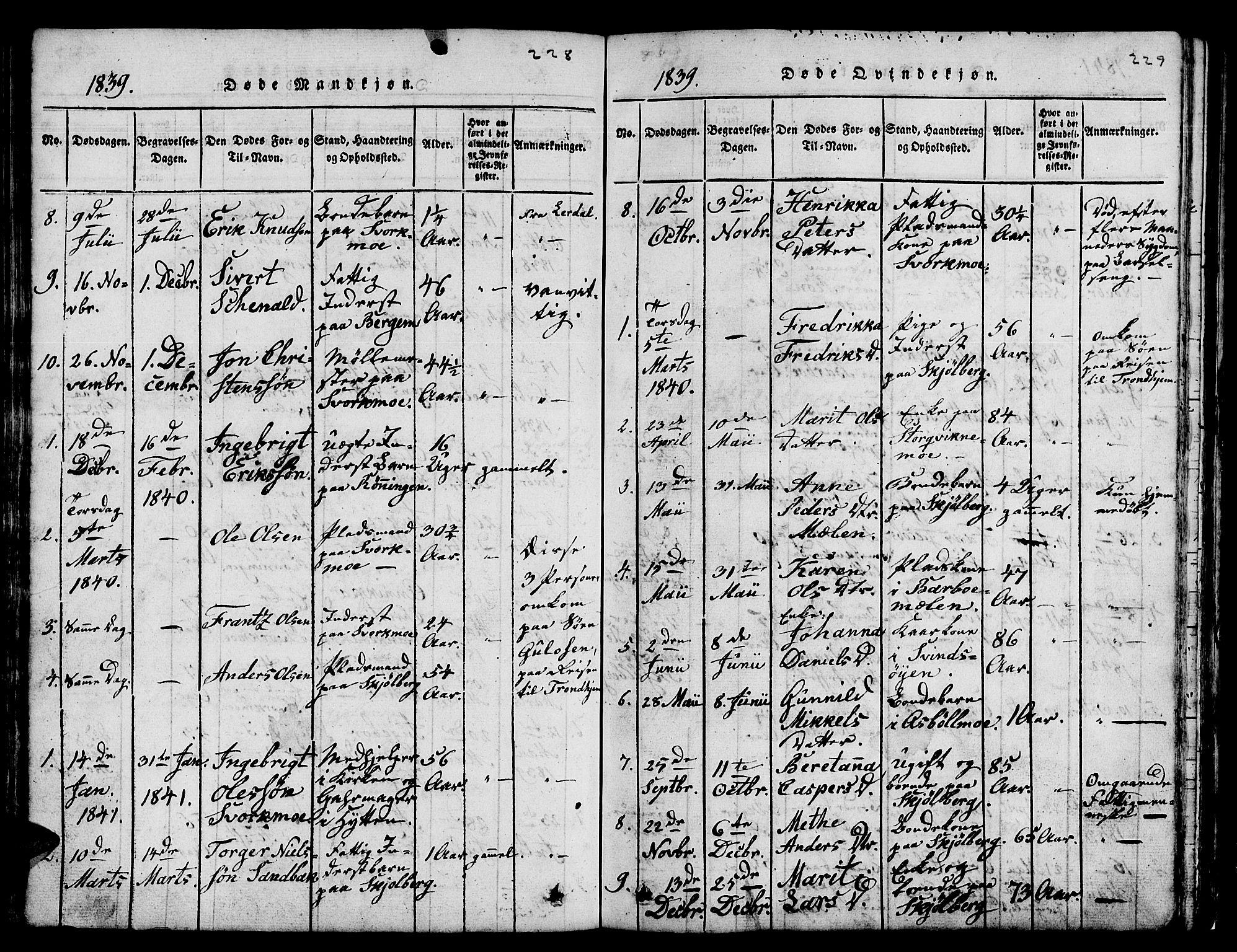 SAT, Ministerialprotokoller, klokkerbøker og fødselsregistre - Sør-Trøndelag, 671/L0842: Klokkerbok nr. 671C01, 1816-1867, s. 228-229