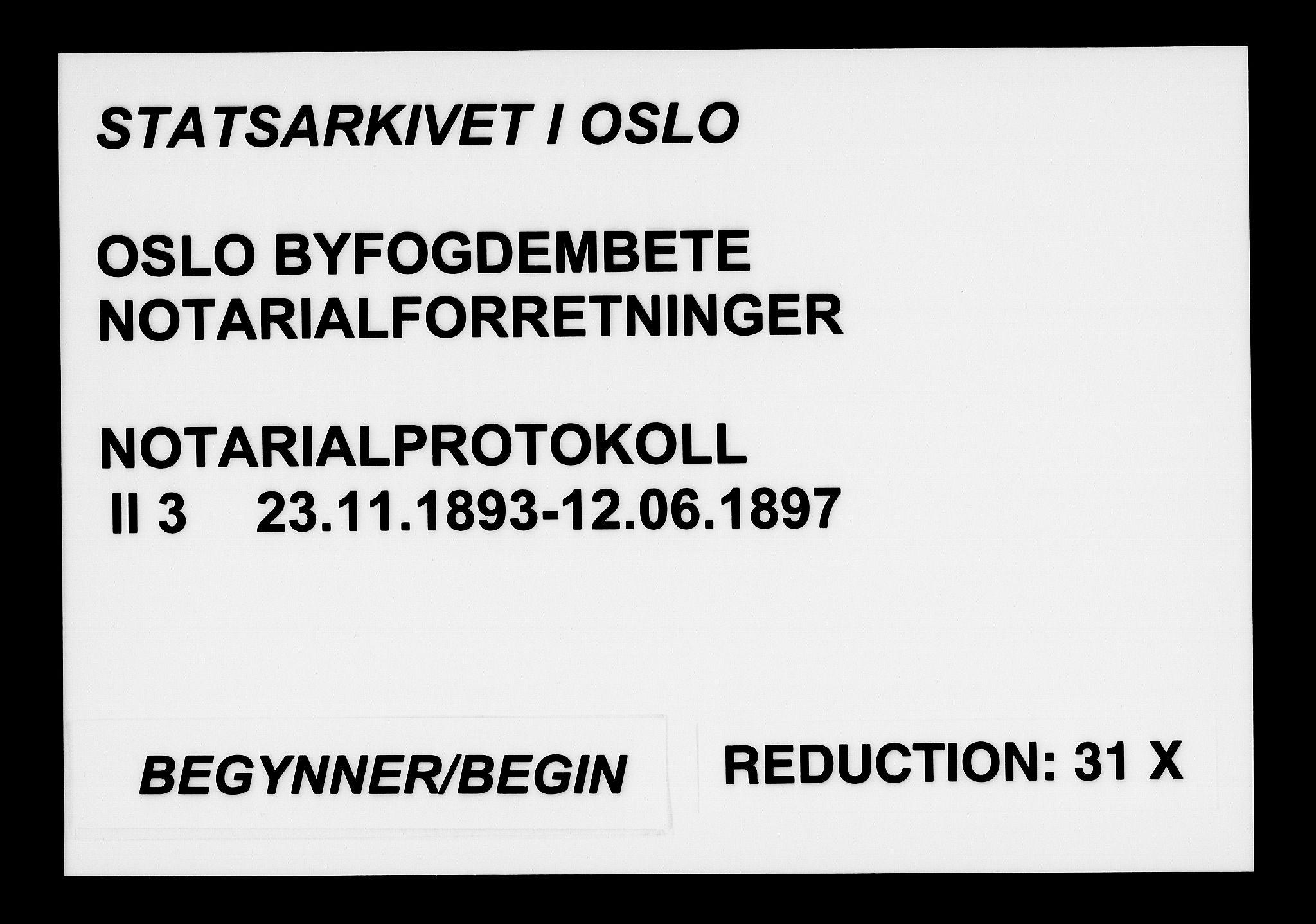 SAO, Oslo byfogd avd. I, L/Lb/Lbb/L0003: Notarialprotokoll, rekke II: Vigsler, 1893-1897, s. upaginert