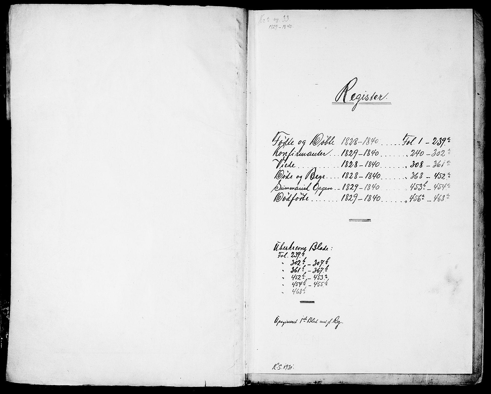 SAO, Garnisonsmenigheten Kirkebøker, G/Ga/L0004: Klokkerbok nr. 4, 1828-1840