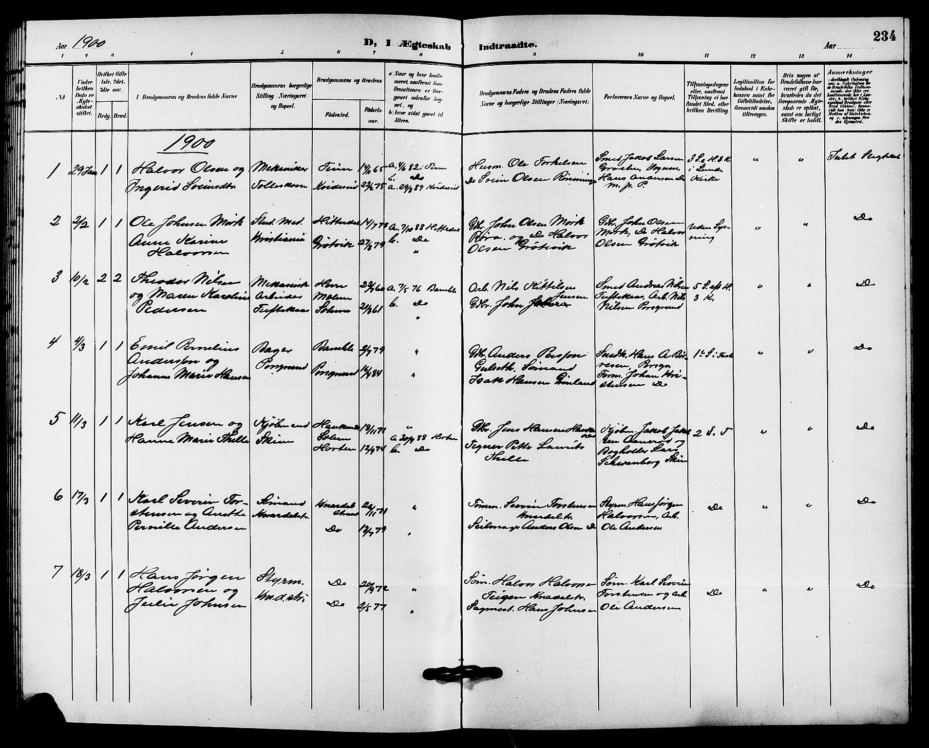 SAKO, Solum kirkebøker, G/Ga/L0008: Klokkerbok nr. I 8, 1898-1909, s. 234