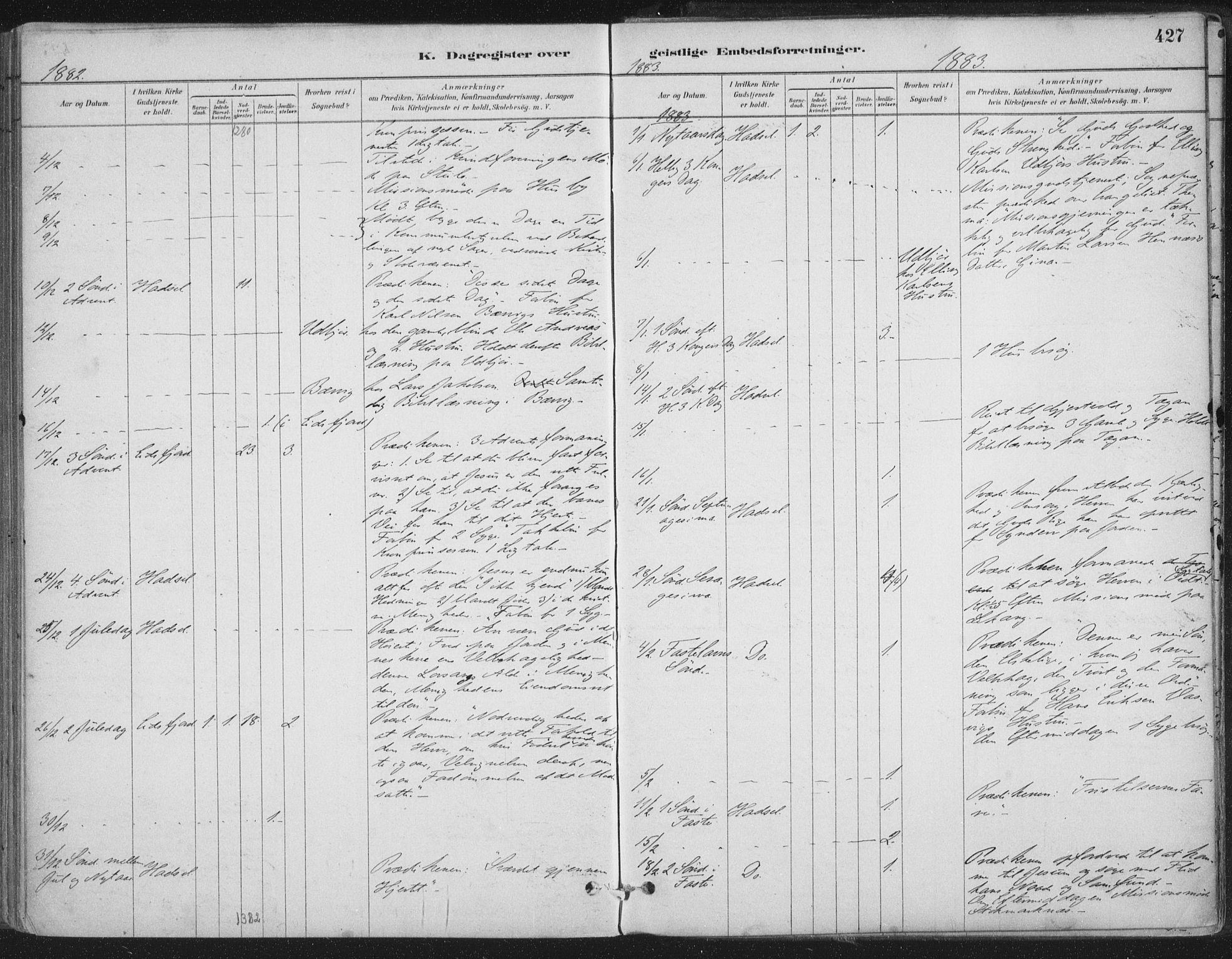 SAT, Ministerialprotokoller, klokkerbøker og fødselsregistre - Nordland, 888/L1244: Ministerialbok nr. 888A10, 1880-1890, s. 427