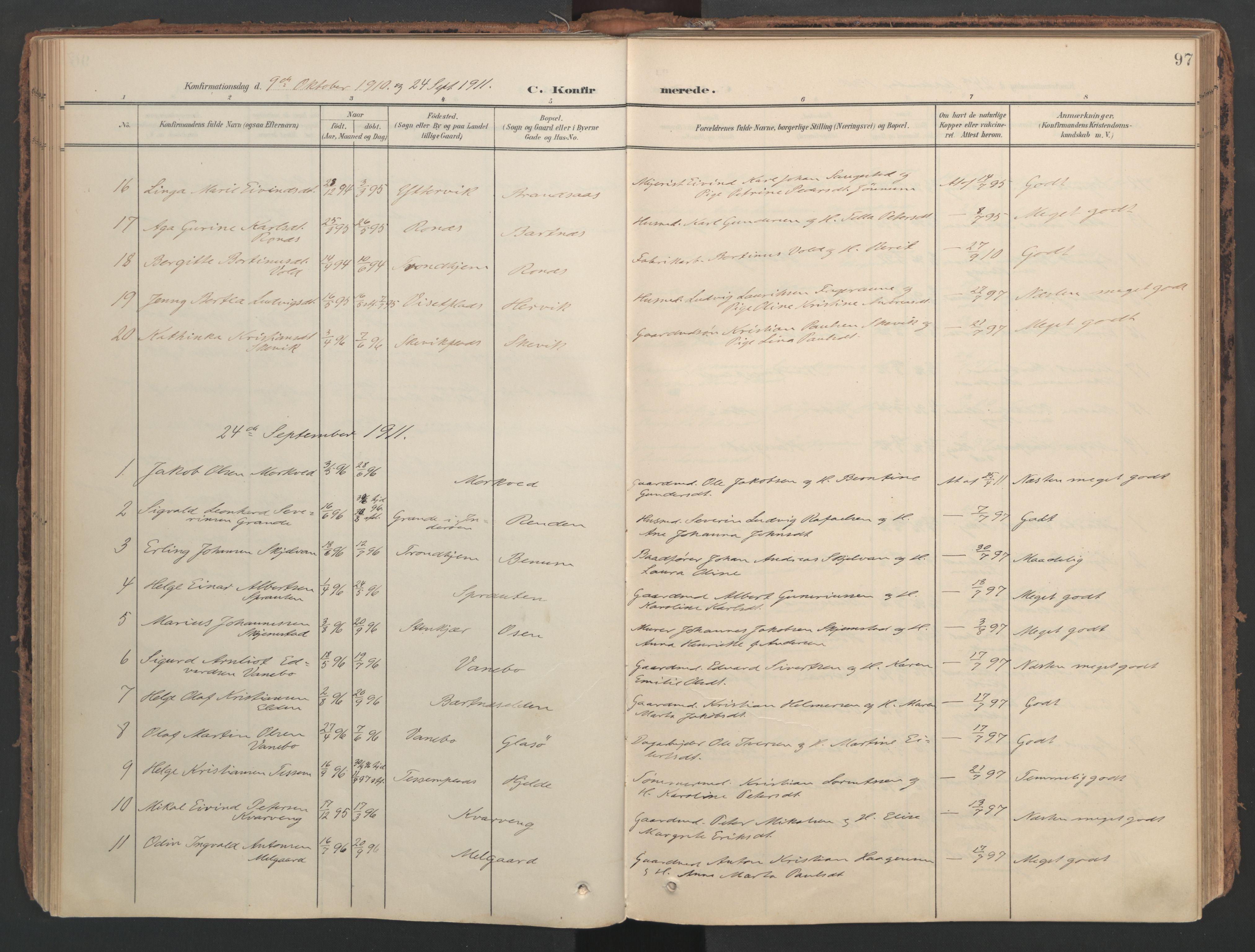 SAT, Ministerialprotokoller, klokkerbøker og fødselsregistre - Nord-Trøndelag, 741/L0397: Ministerialbok nr. 741A11, 1901-1911, s. 97