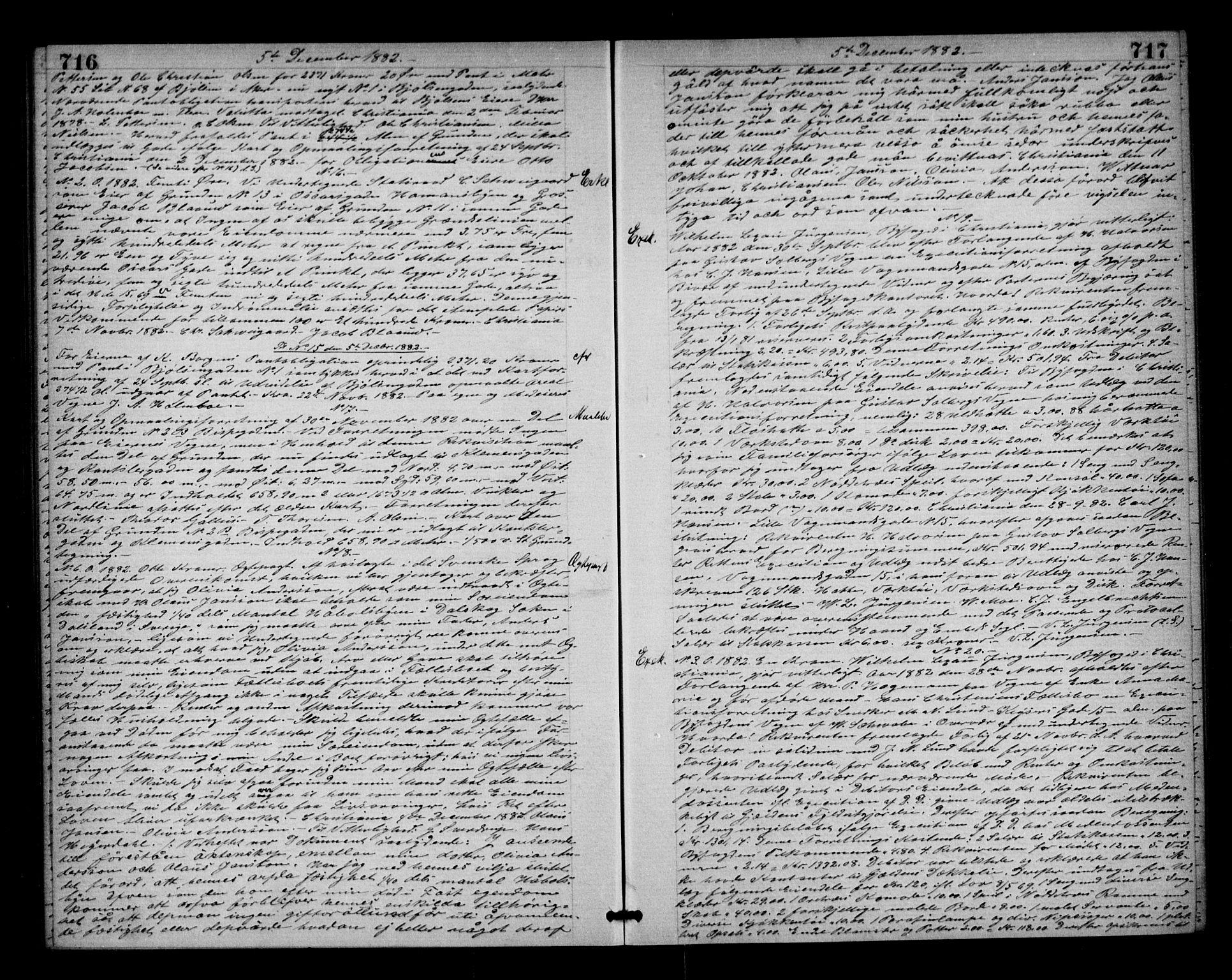 SAO, Oslo byskriverembete, G/Gb/Gba/L0054: Pantebok nr. I 54, 1882-1883, s. 716-717