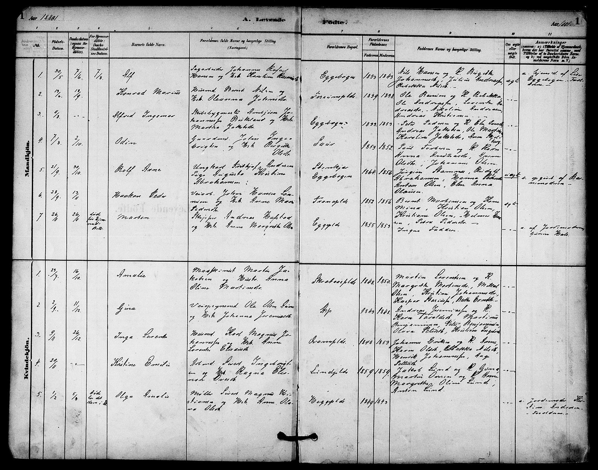 SAT, Ministerialprotokoller, klokkerbøker og fødselsregistre - Nord-Trøndelag, 740/L0378: Ministerialbok nr. 740A01, 1881-1895, s. 1