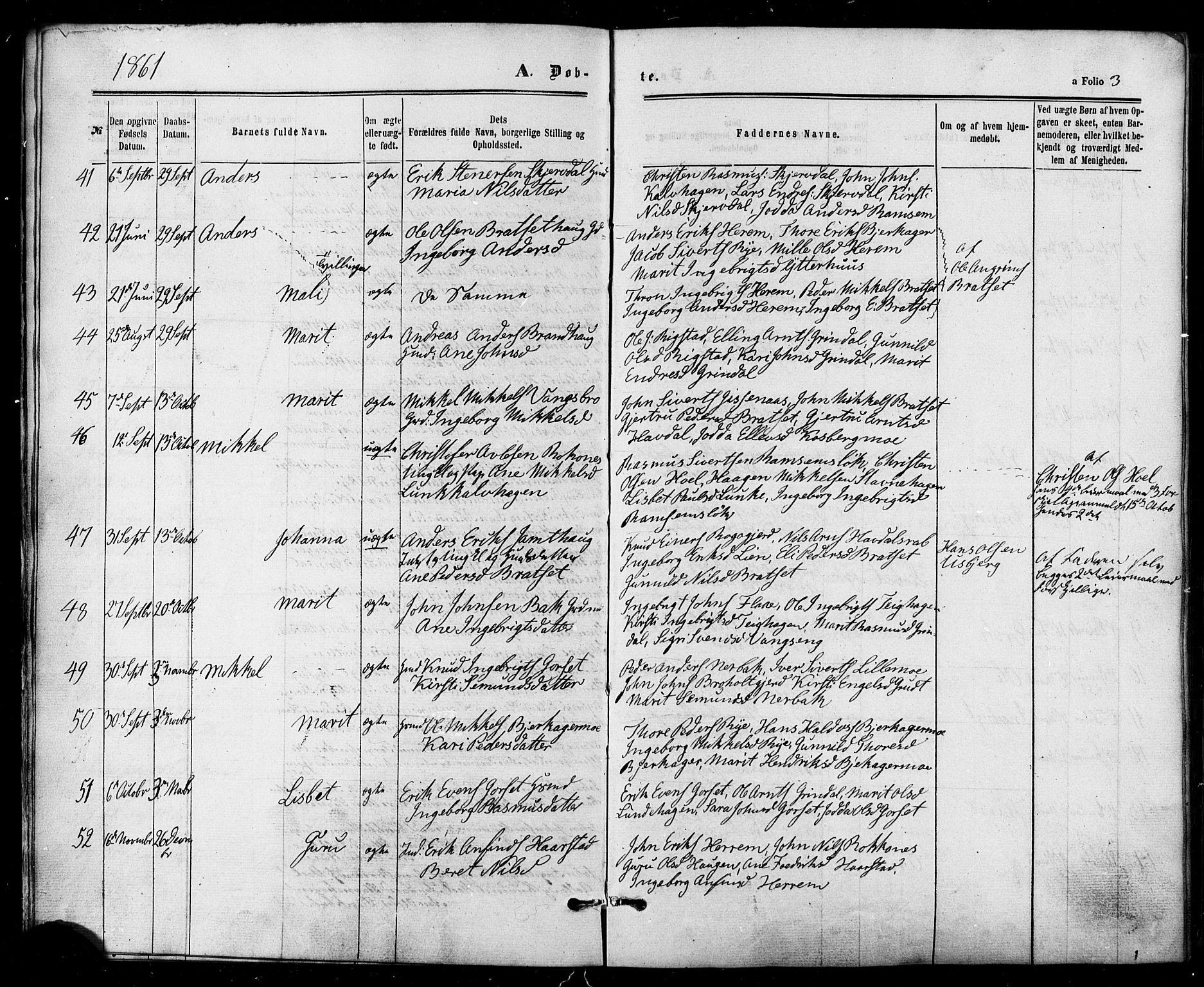 SAT, Ministerialprotokoller, klokkerbøker og fødselsregistre - Sør-Trøndelag, 674/L0870: Ministerialbok nr. 674A02, 1861-1879, s. 3
