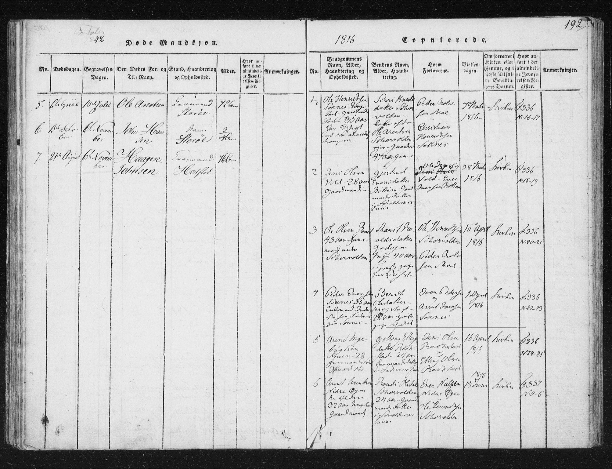 SAT, Ministerialprotokoller, klokkerbøker og fødselsregistre - Sør-Trøndelag, 687/L0996: Ministerialbok nr. 687A04, 1816-1842, s. 192
