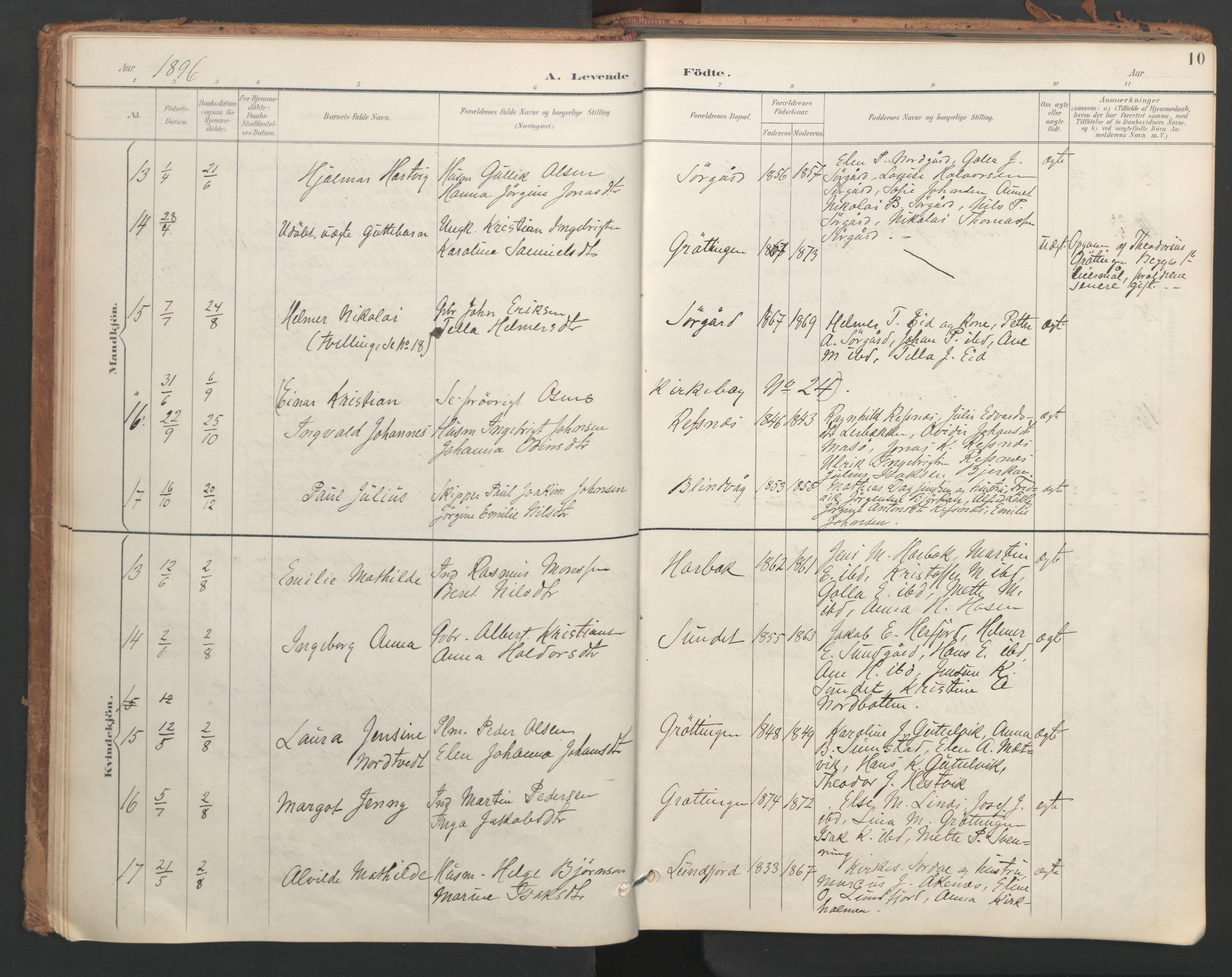SAT, Ministerialprotokoller, klokkerbøker og fødselsregistre - Sør-Trøndelag, 656/L0693: Ministerialbok nr. 656A02, 1894-1913, s. 10