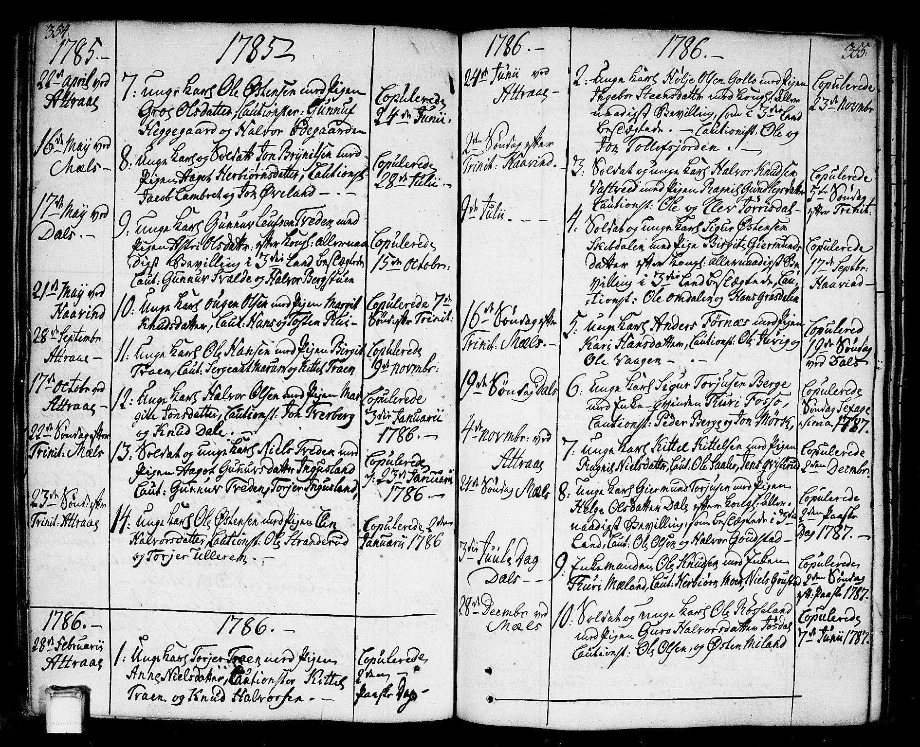 SAKO, Tinn kirkebøker, F/Fa/L0002: Ministerialbok nr. I 2, 1757-1810, s. 354-355