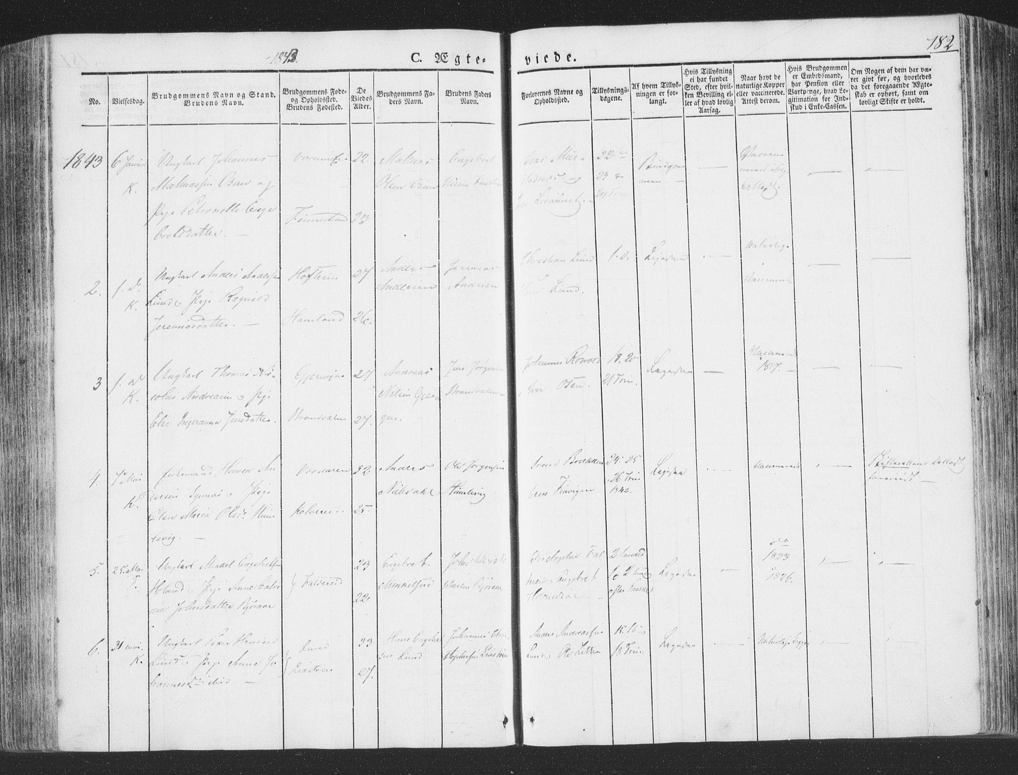 SAT, Ministerialprotokoller, klokkerbøker og fødselsregistre - Nord-Trøndelag, 780/L0639: Ministerialbok nr. 780A04, 1830-1844, s. 182