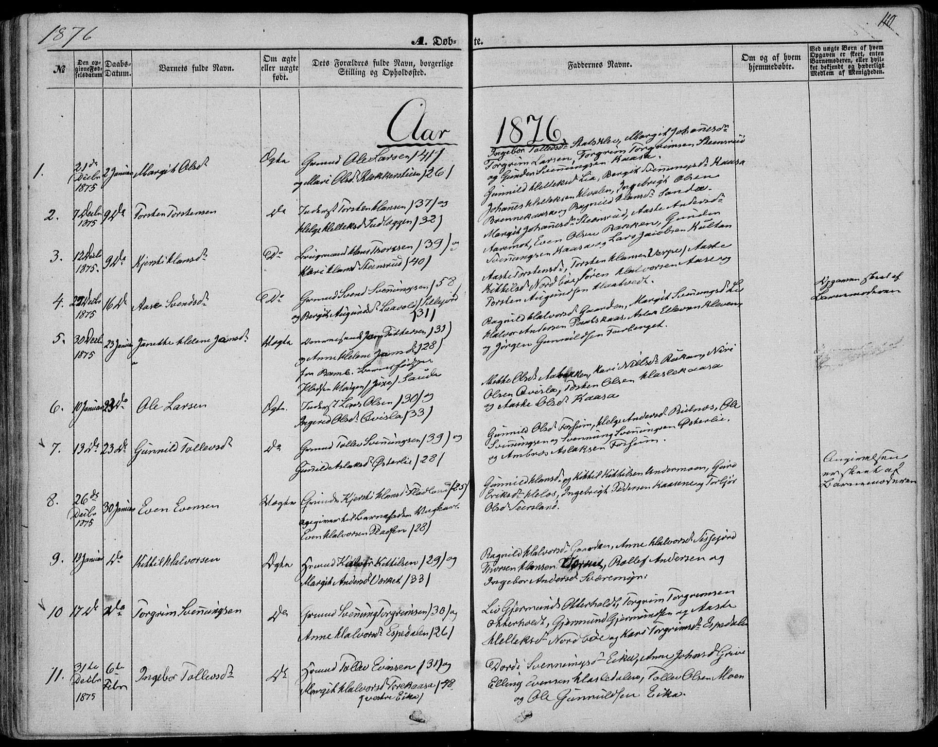 SAKO, Bø kirkebøker, F/Fa/L0009: Ministerialbok nr. 9, 1862-1879, s. 110