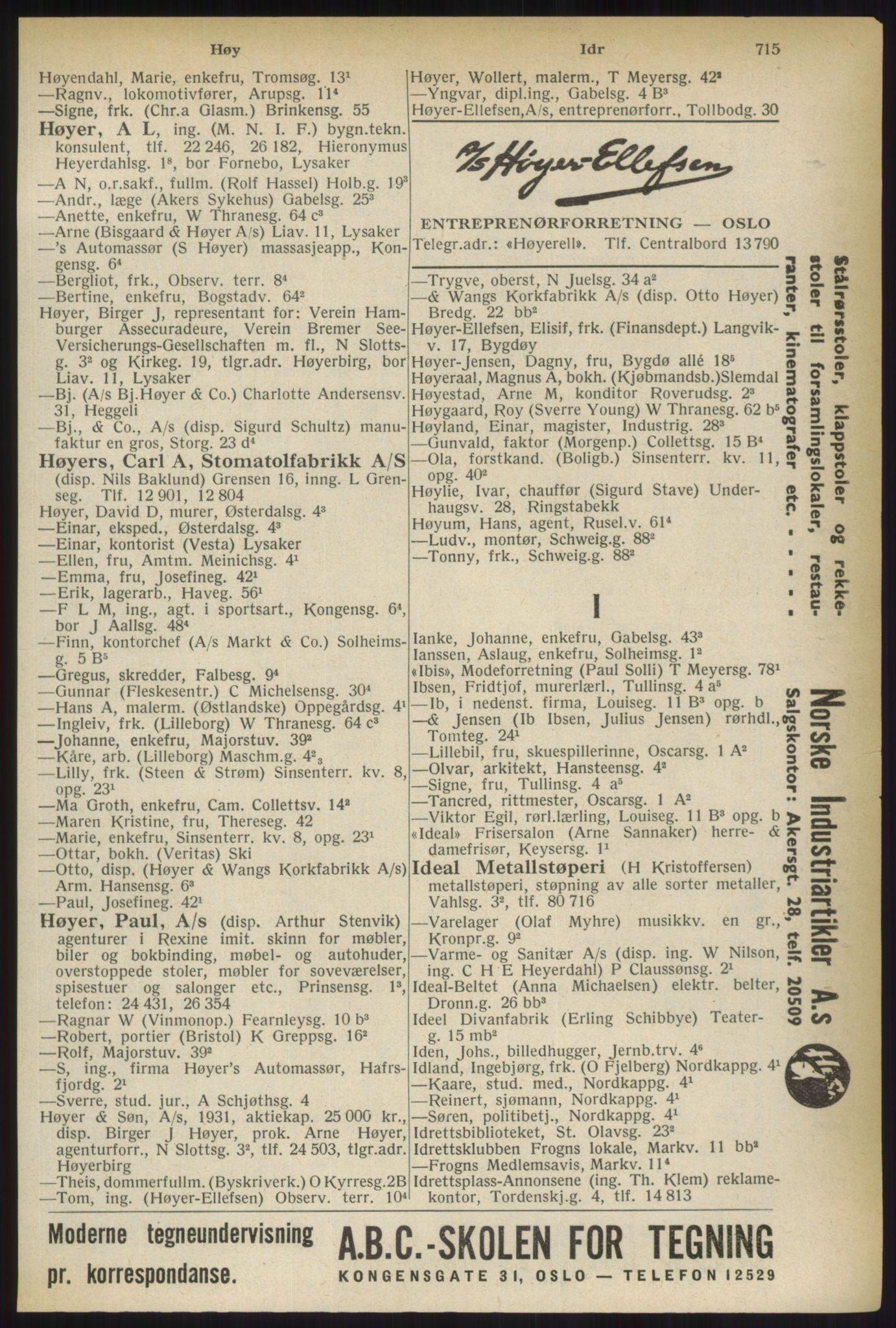 RA, Oslo adressebok (publikasjon)*, 1937, s. 715
