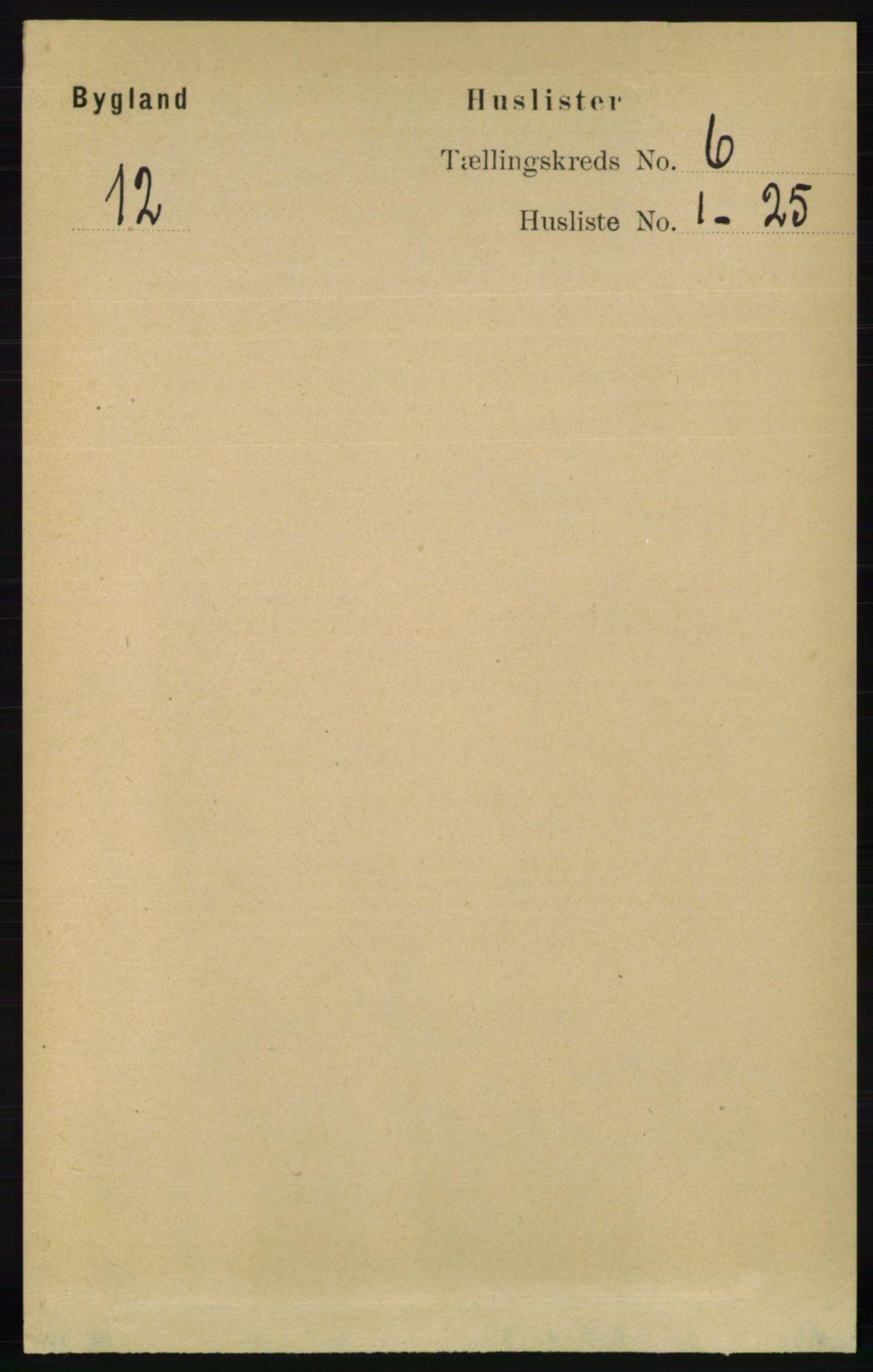 RA, Folketelling 1891 for 0938 Bygland herred, 1891, s. 1307