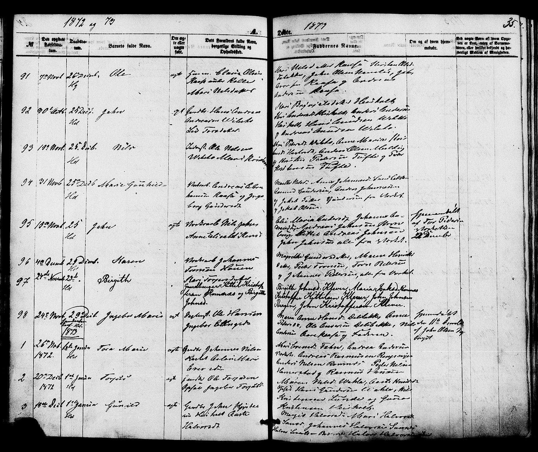 SAKO, Holla kirkebøker, F/Fa/L0007: Ministerialbok nr. 7, 1869-1881, s. 35