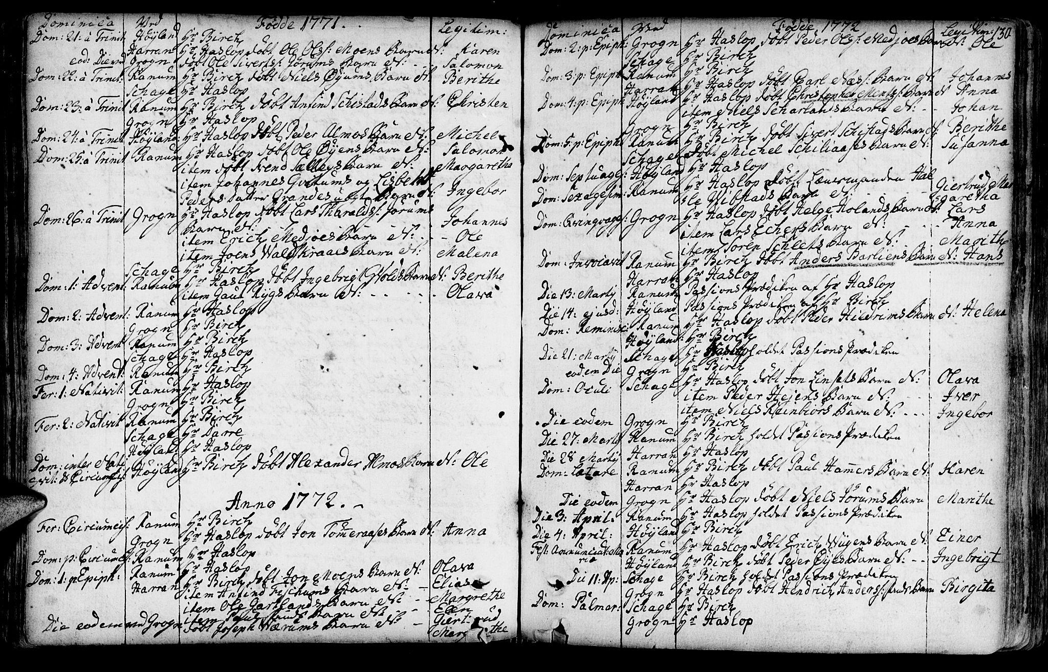 SAT, Ministerialprotokoller, klokkerbøker og fødselsregistre - Nord-Trøndelag, 764/L0542: Ministerialbok nr. 764A02, 1748-1779, s. 130