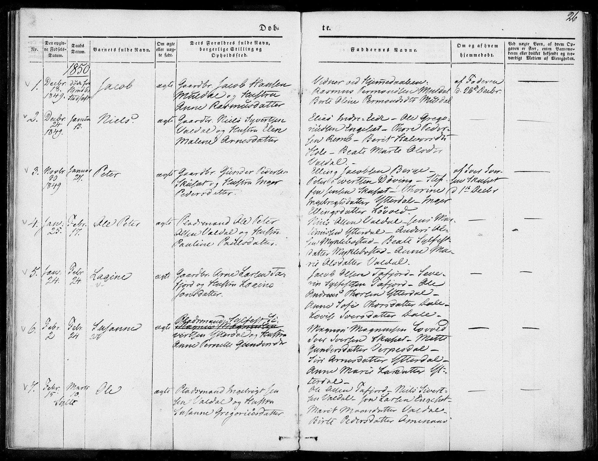 SAT, Ministerialprotokoller, klokkerbøker og fødselsregistre - Møre og Romsdal, 519/L0249: Ministerialbok nr. 519A08, 1846-1868, s. 26