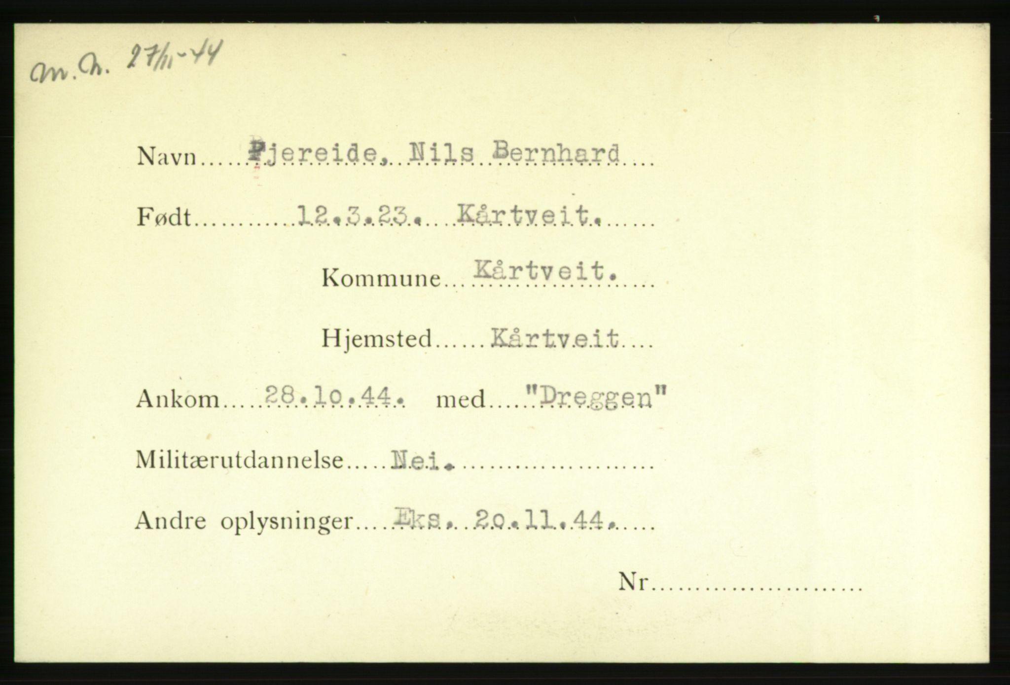 NHM, Forsvarets Overkommando. 2. kontor. Arkiv 8.1. Mottakersentralen FDE og FO.II, P/Pa/L0006: Kortsamling, 1940-1945, s. 3