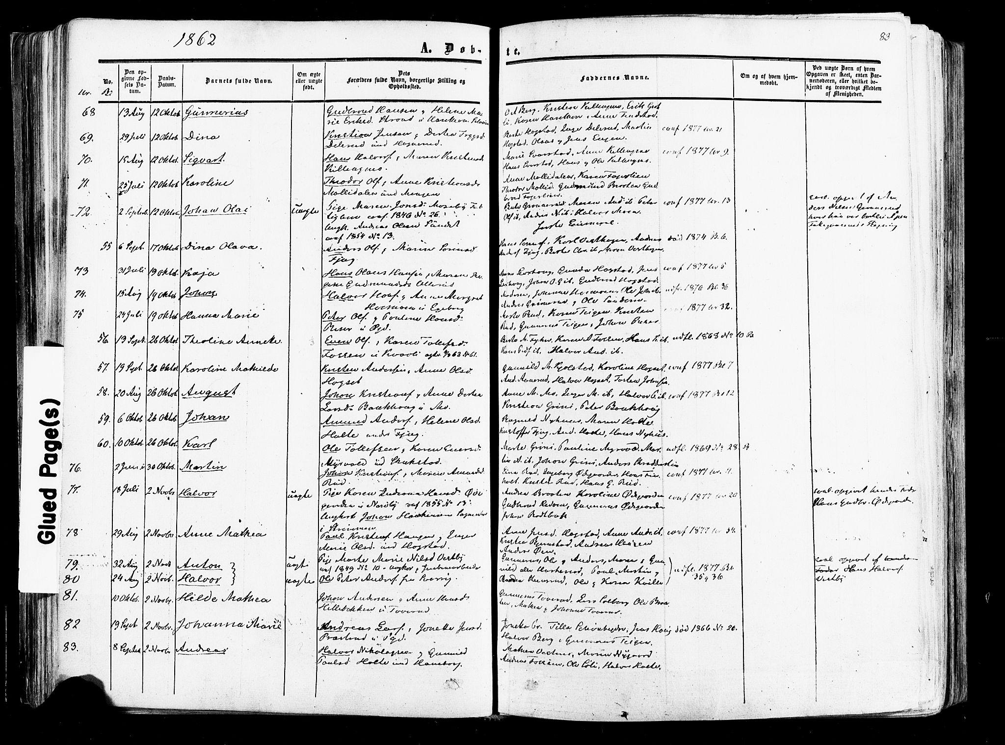 SAO, Aurskog prestekontor Kirkebøker, F/Fa/L0007: Ministerialbok nr. I 7, 1854-1877, s. 83