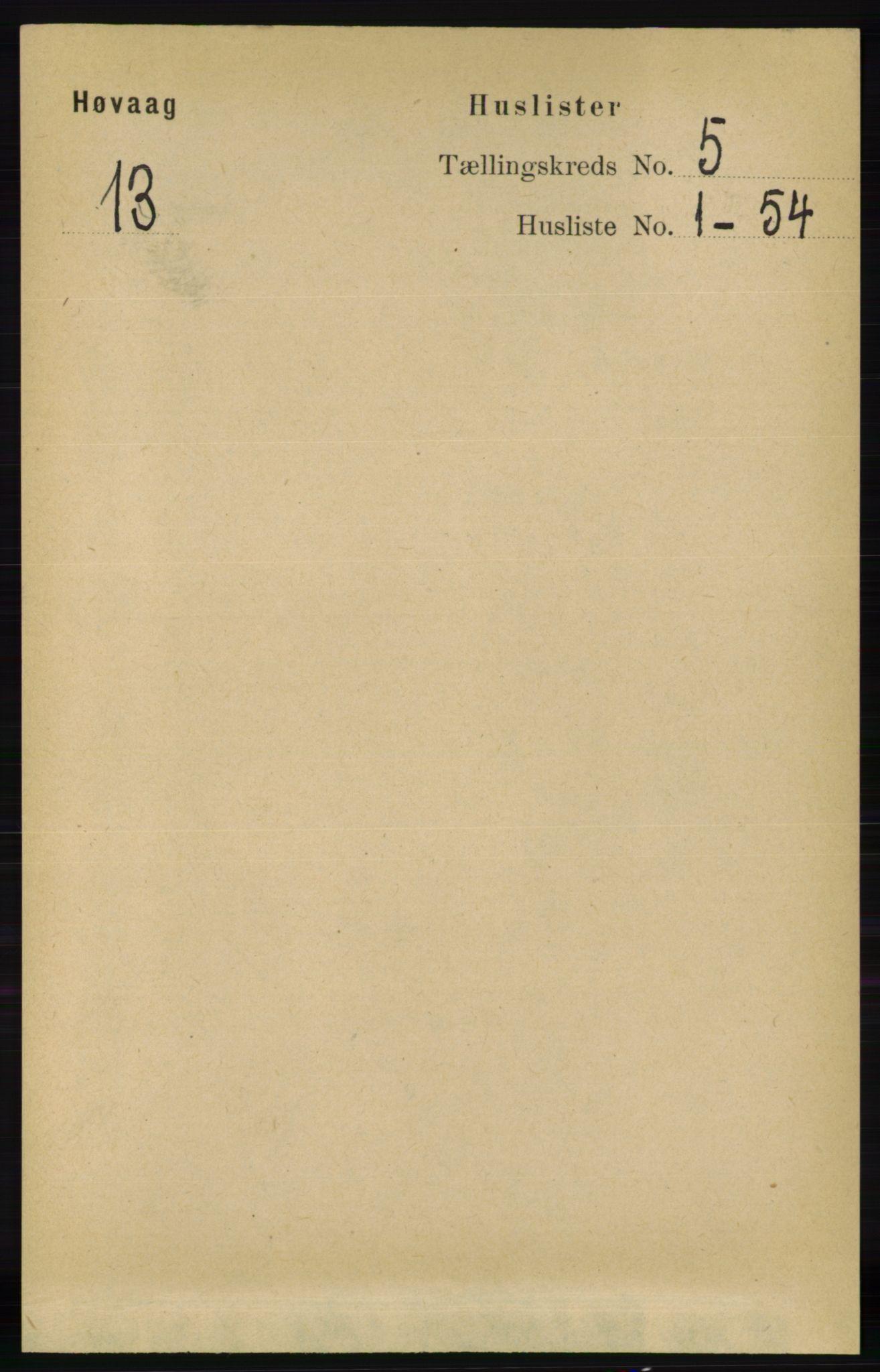 RA, Folketelling 1891 for 0927 Høvåg herred, 1891, s. 1785