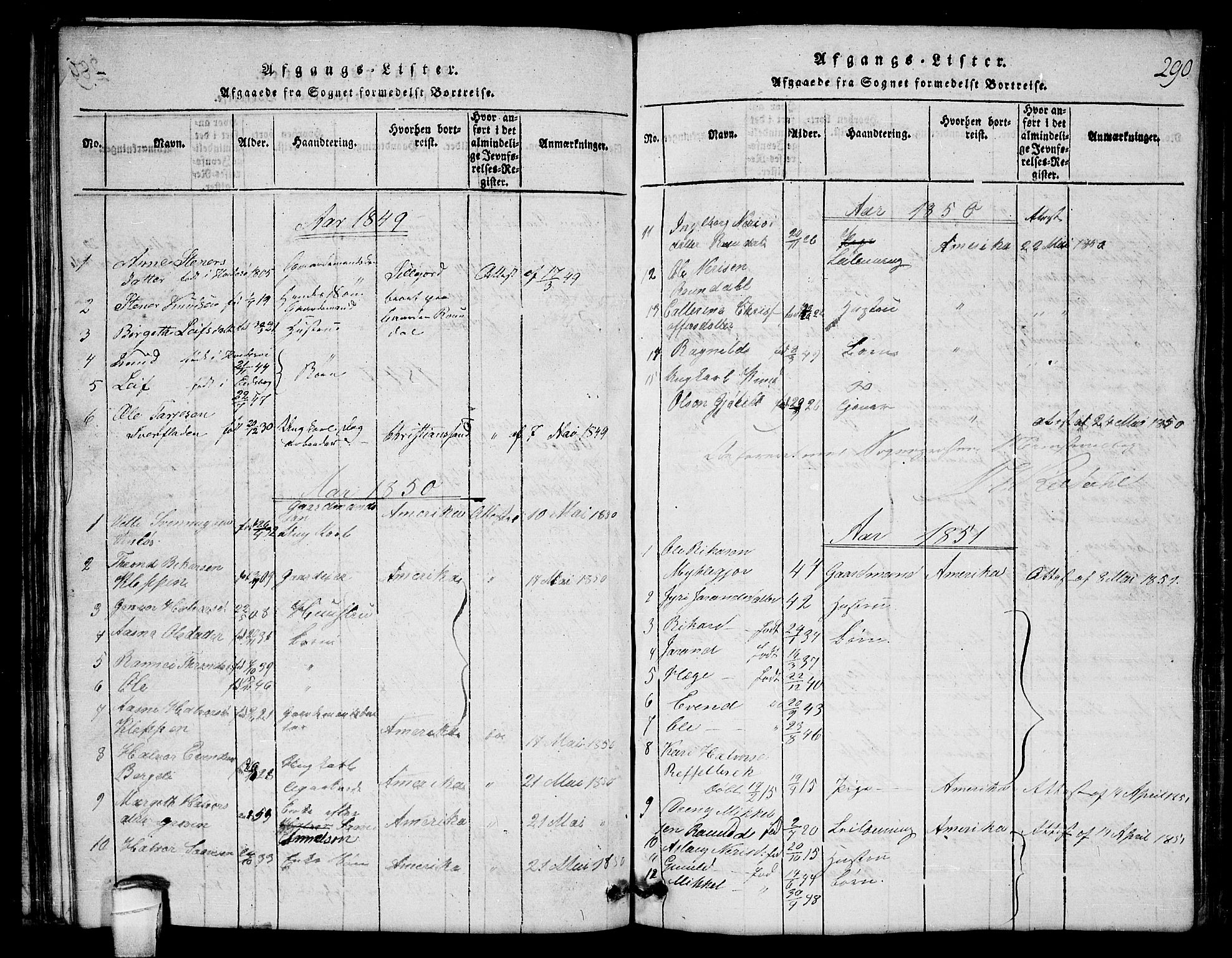 SAKO, Lårdal kirkebøker, G/Gb/L0001: Klokkerbok nr. II 1, 1815-1865, s. 290