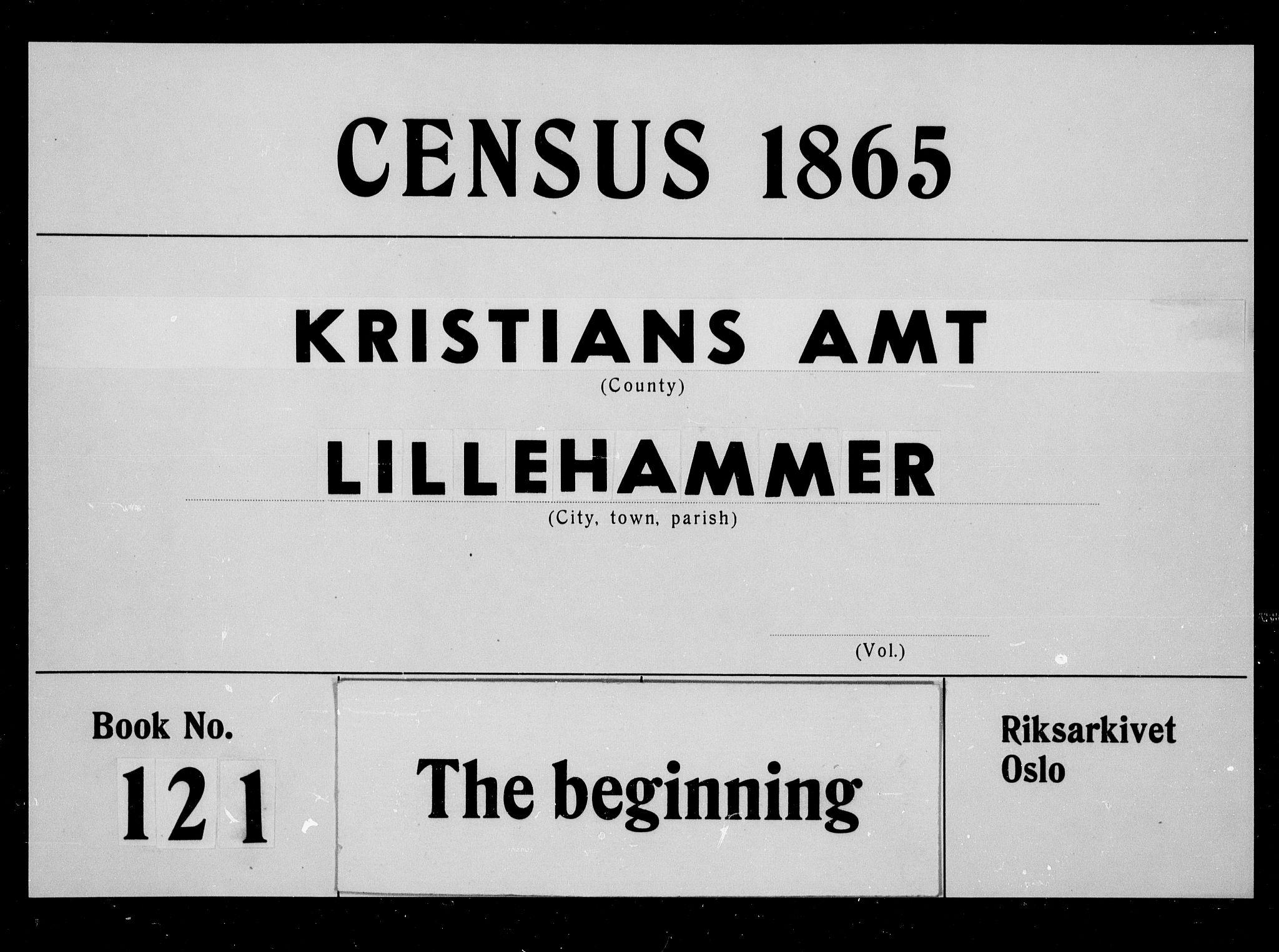 RA, Folketelling 1865 for 0501B Fåberg prestegjeld, Lillehammer kjøpstad, 1865, s. 1