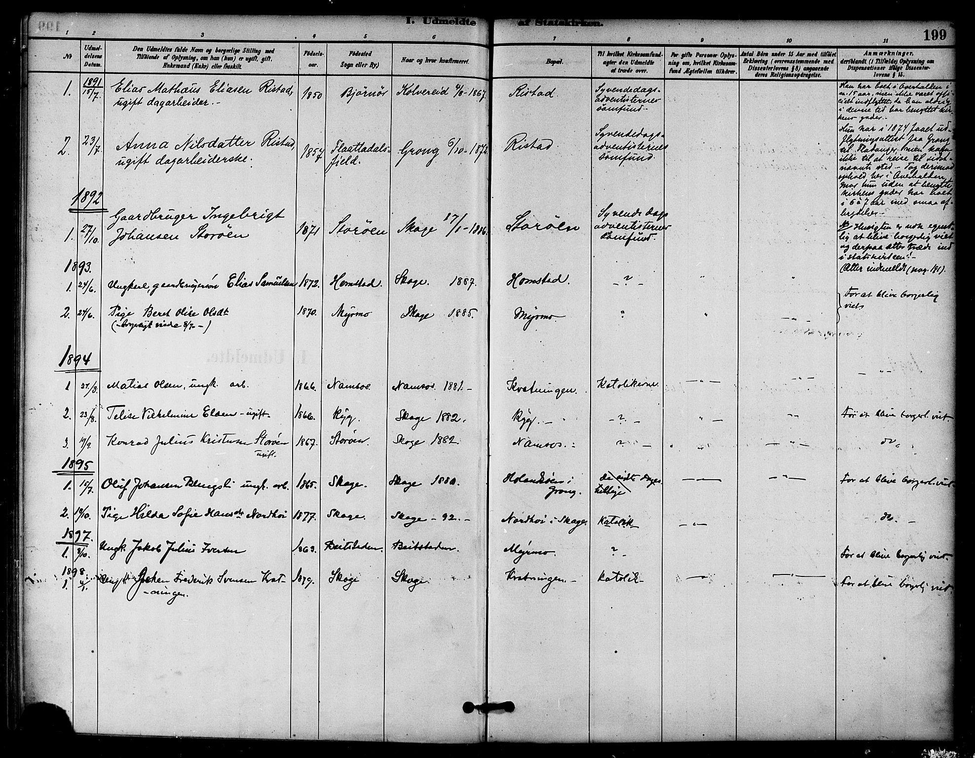SAT, Ministerialprotokoller, klokkerbøker og fødselsregistre - Nord-Trøndelag, 766/L0563: Ministerialbok nr. 767A01, 1881-1899, s. 199