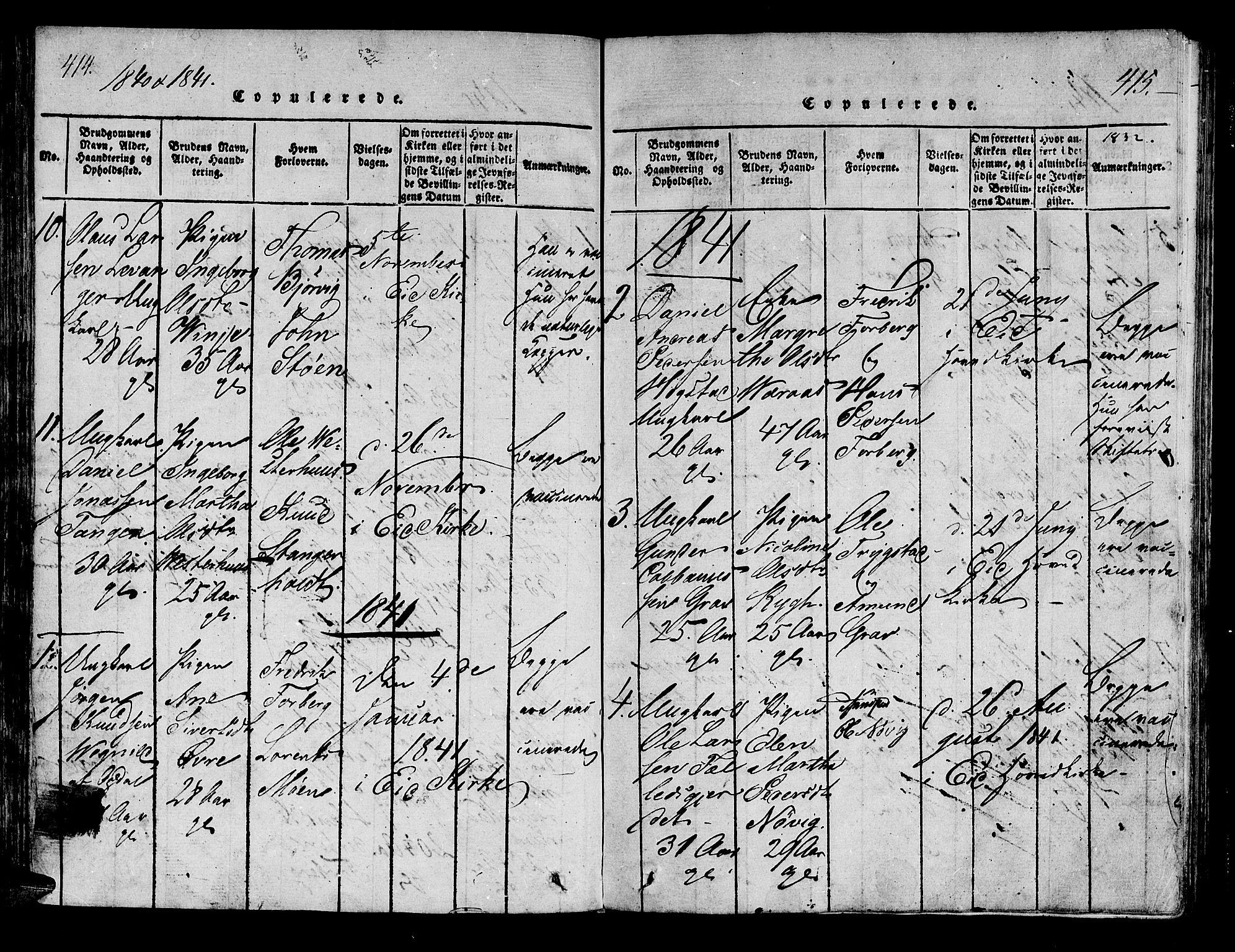 SAT, Ministerialprotokoller, klokkerbøker og fødselsregistre - Nord-Trøndelag, 722/L0217: Ministerialbok nr. 722A04, 1817-1842, s. 414-415