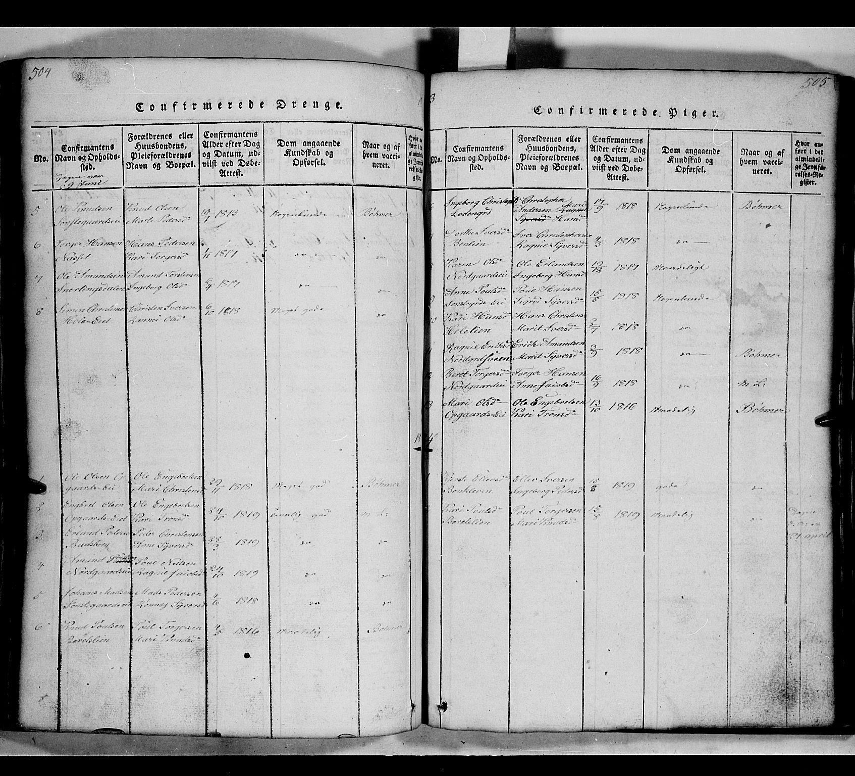 SAH, Gausdal prestekontor, Klokkerbok nr. 2, 1818-1874, s. 504-505