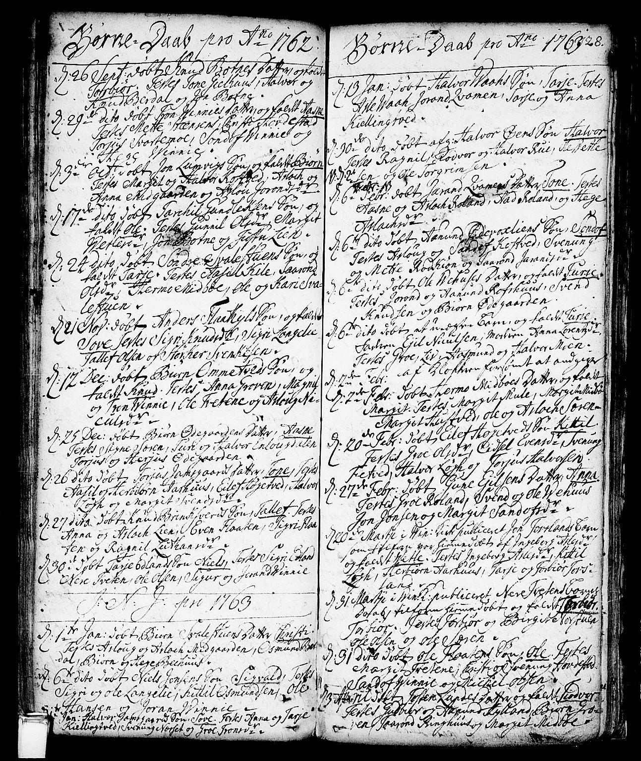 SAKO, Vinje kirkebøker, F/Fa/L0001: Ministerialbok nr. I 1, 1717-1766, s. 128