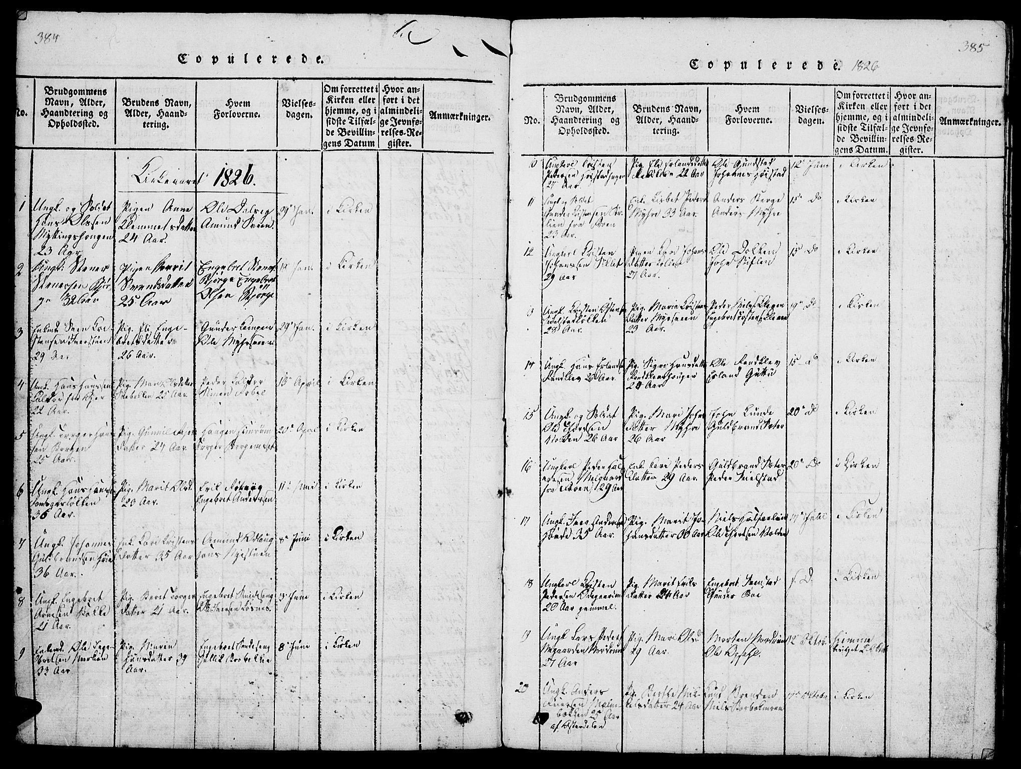 SAH, Ringebu prestekontor, Klokkerbok nr. 1, 1821-1839, s. 384-385