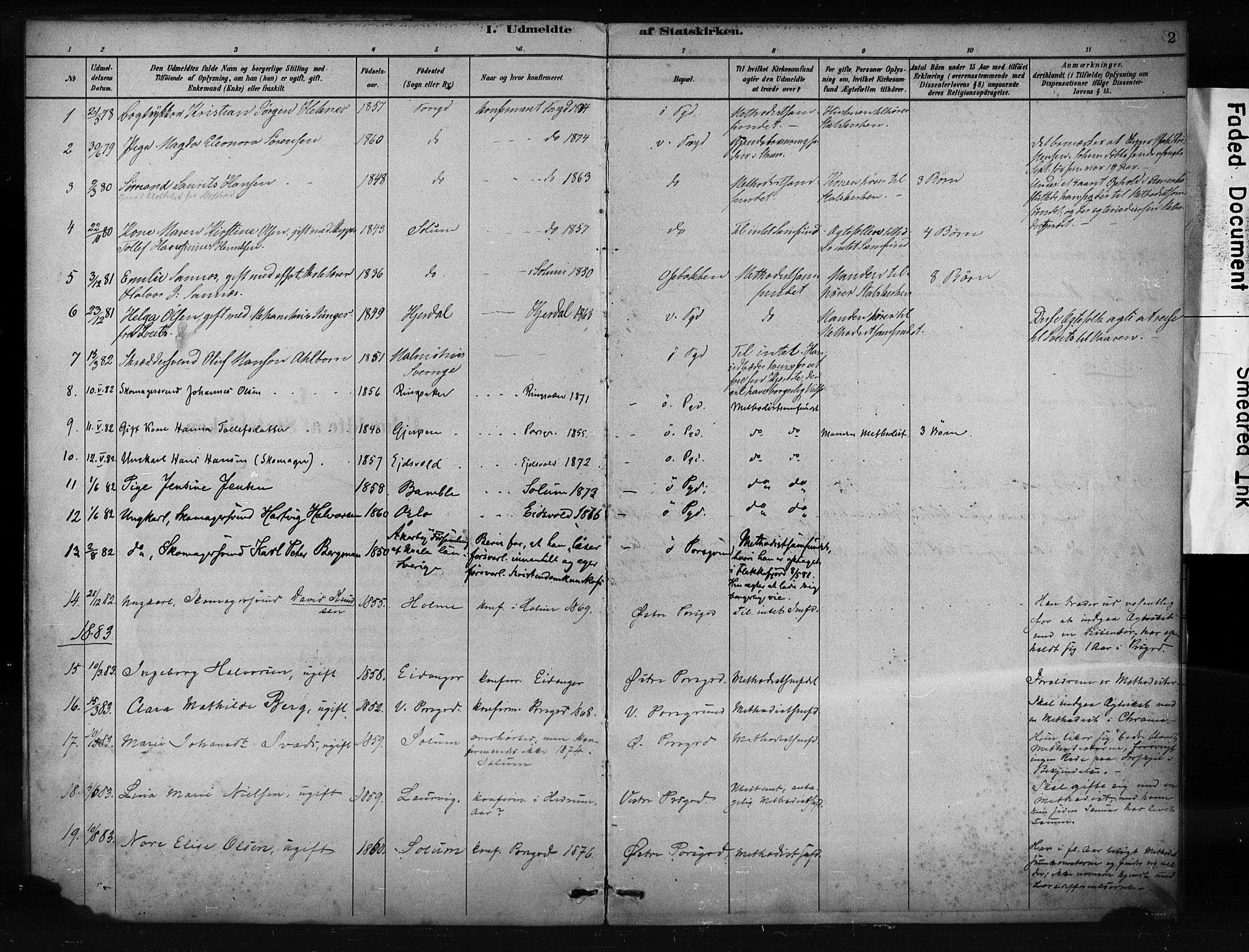 SAKO, Porsgrunn kirkebøker , F/Fa/L0009: Ministerialbok nr. 9, 1878-1923, s. 2