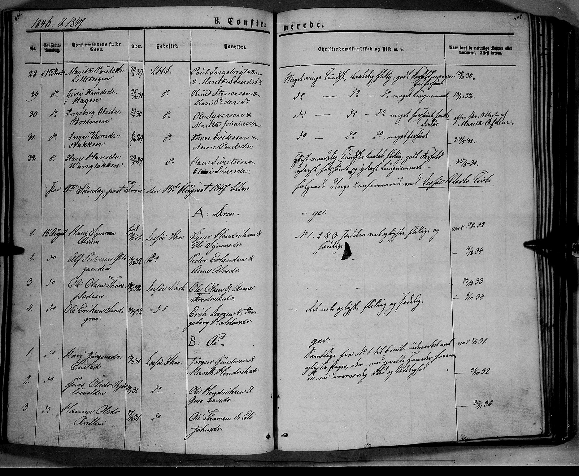 SAH, Lesja prestekontor, Ministerialbok nr. 6A, 1843-1854, s. 406-407