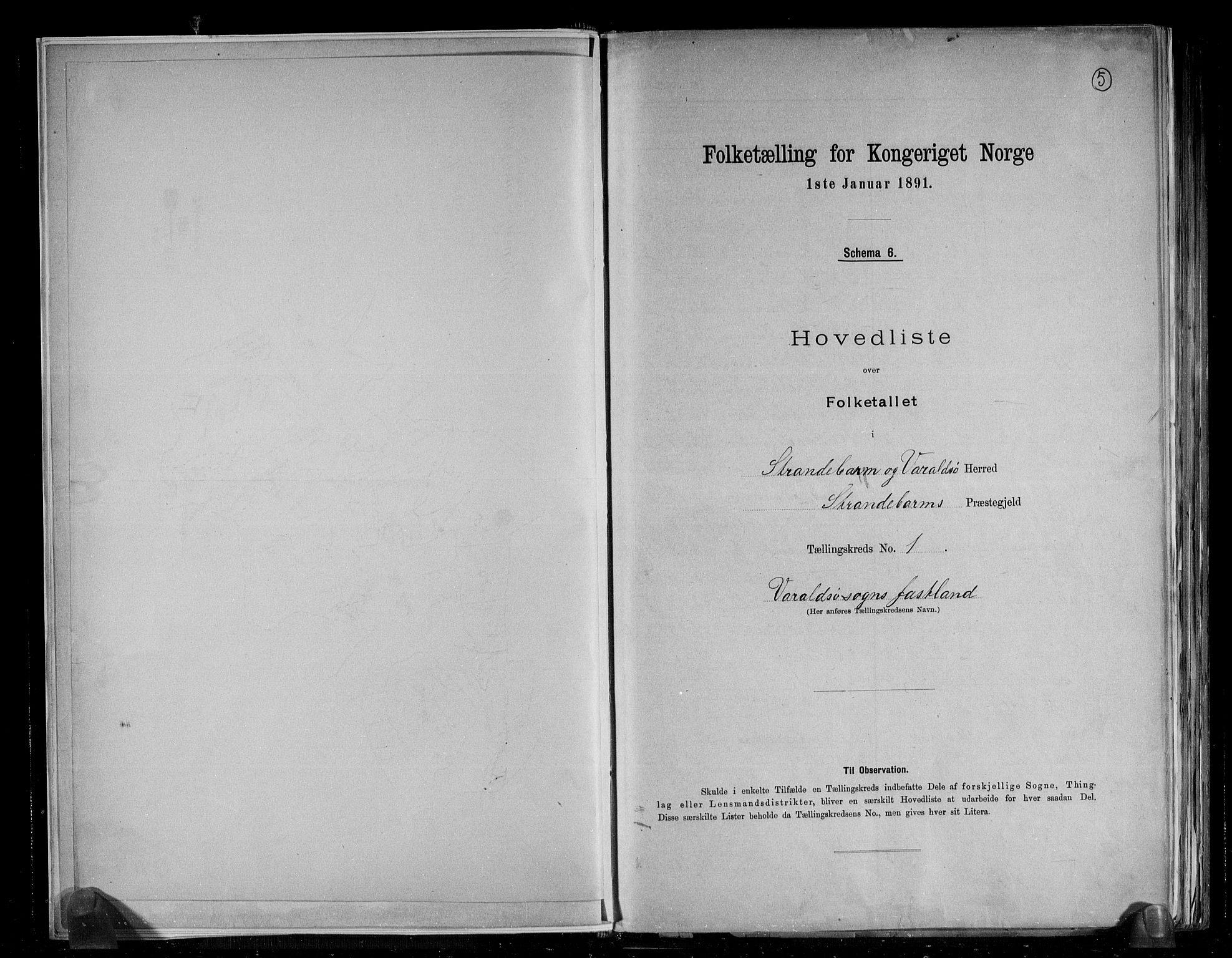 RA, Folketelling 1891 for 1226 Strandebarm og Varaldsøy herred, 1891, s. 6
