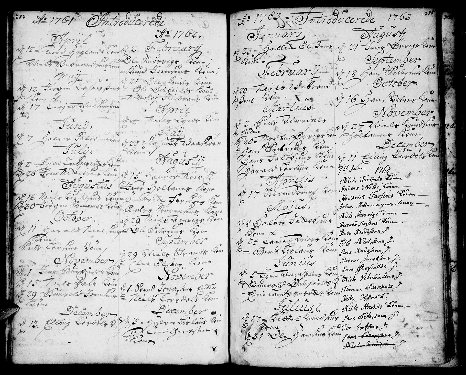 SAKO, Sannidal kirkebøker, F/Fa/L0001: Ministerialbok nr. 1, 1702-1766, s. 284-285