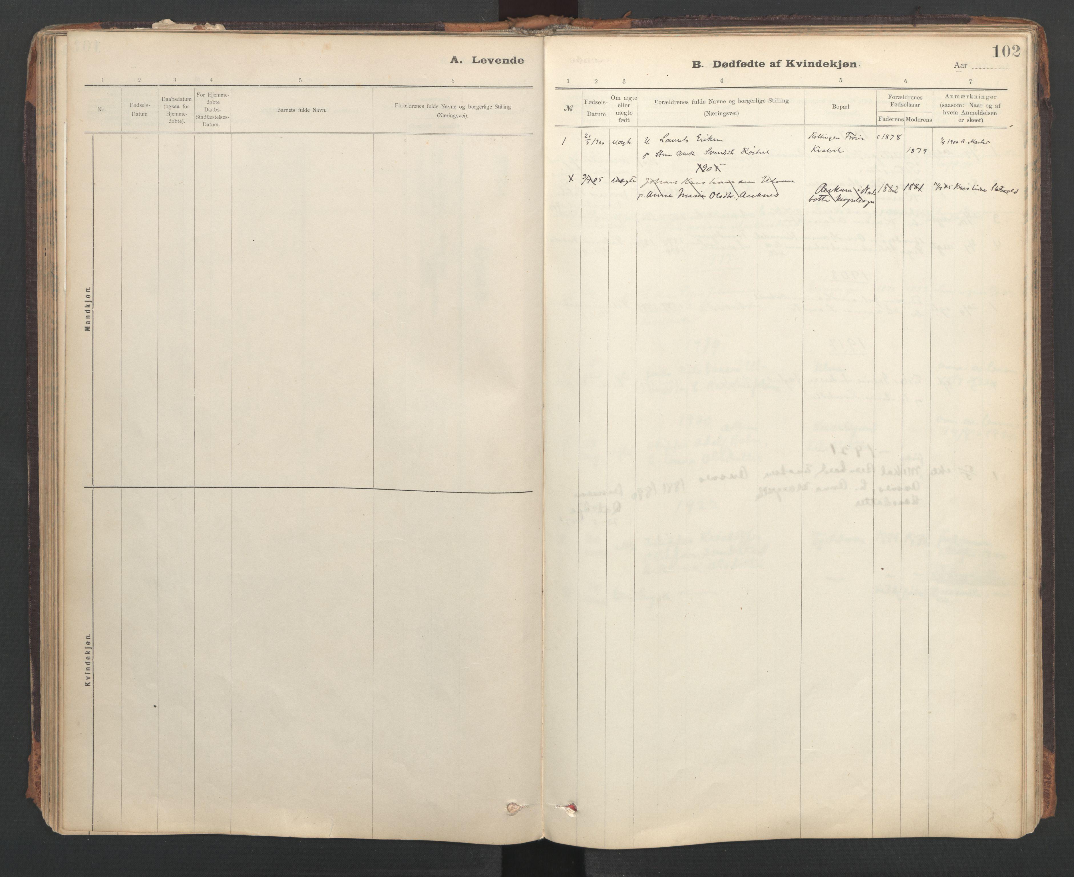 SAT, Ministerialprotokoller, klokkerbøker og fødselsregistre - Sør-Trøndelag, 637/L0559: Ministerialbok nr. 637A02, 1899-1923, s. 102