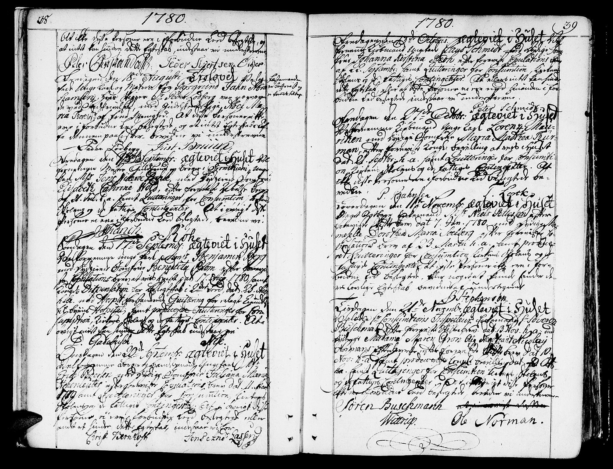 SAT, Ministerialprotokoller, klokkerbøker og fødselsregistre - Sør-Trøndelag, 602/L0105: Ministerialbok nr. 602A03, 1774-1814, s. 38-39