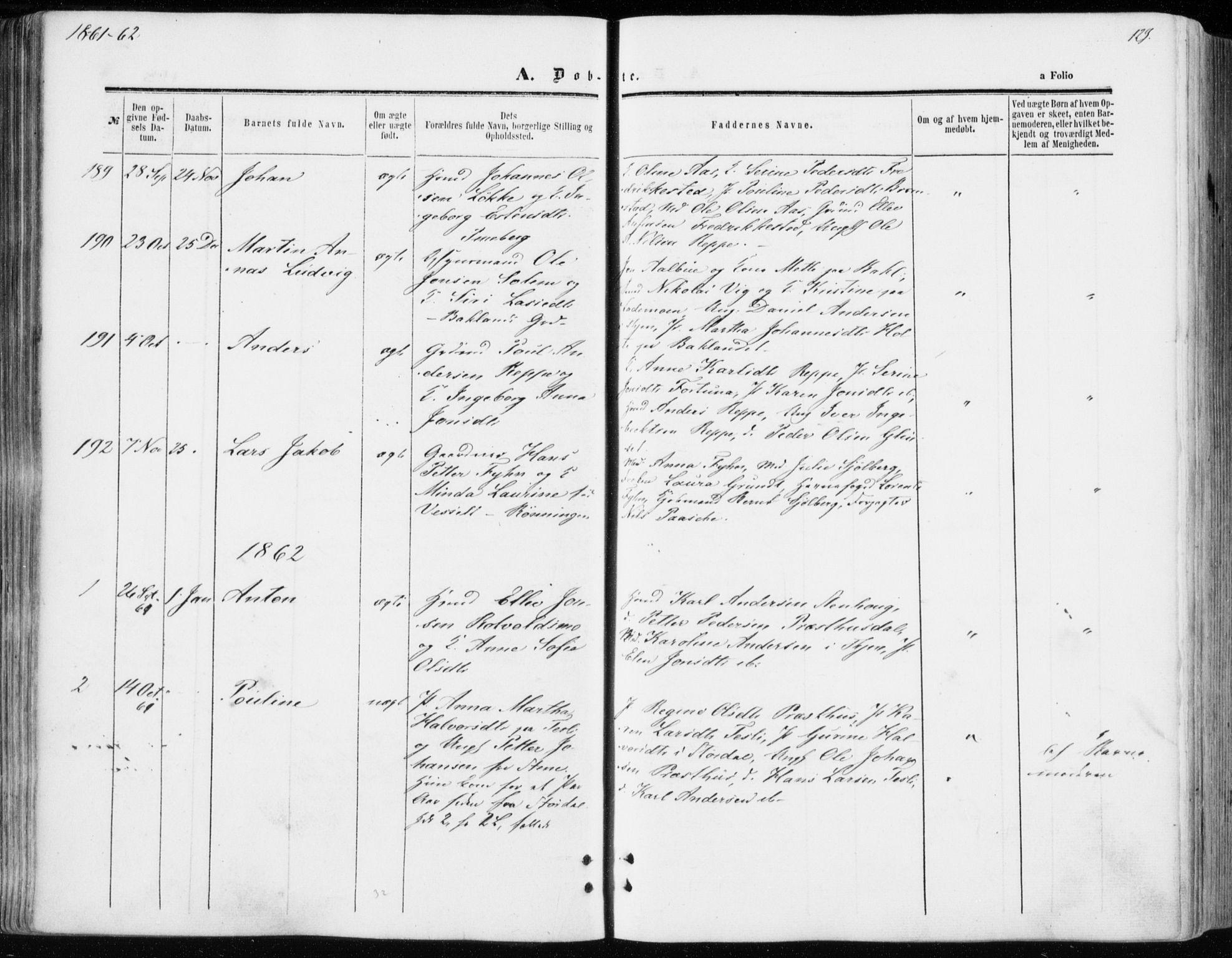 SAT, Ministerialprotokoller, klokkerbøker og fødselsregistre - Sør-Trøndelag, 606/L0292: Ministerialbok nr. 606A07, 1856-1865, s. 129