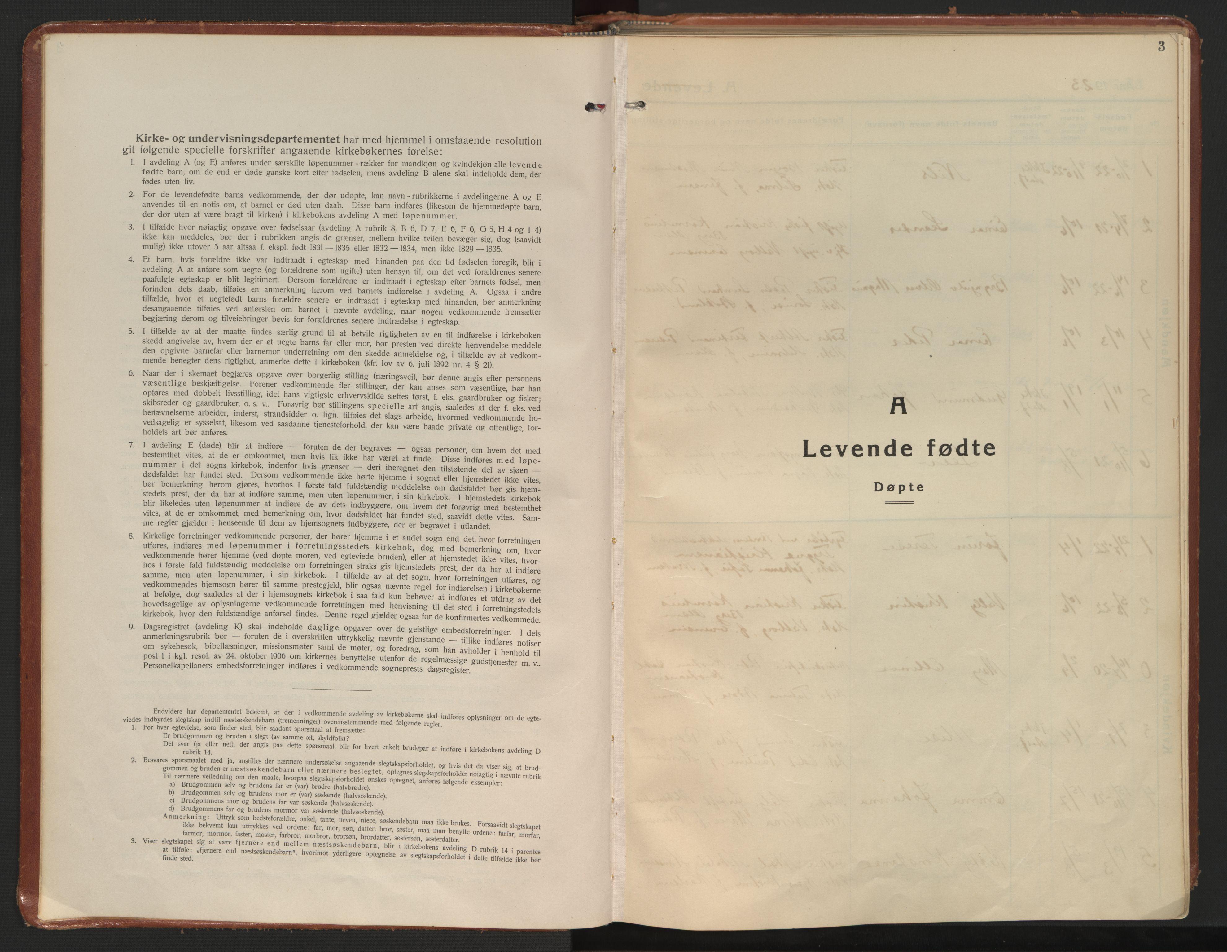 SAT, Ministerialprotokoller, klokkerbøker og fødselsregistre - Nordland, 899/L1441: Ministerialbok nr. 899A09, 1923-1939, s. 3