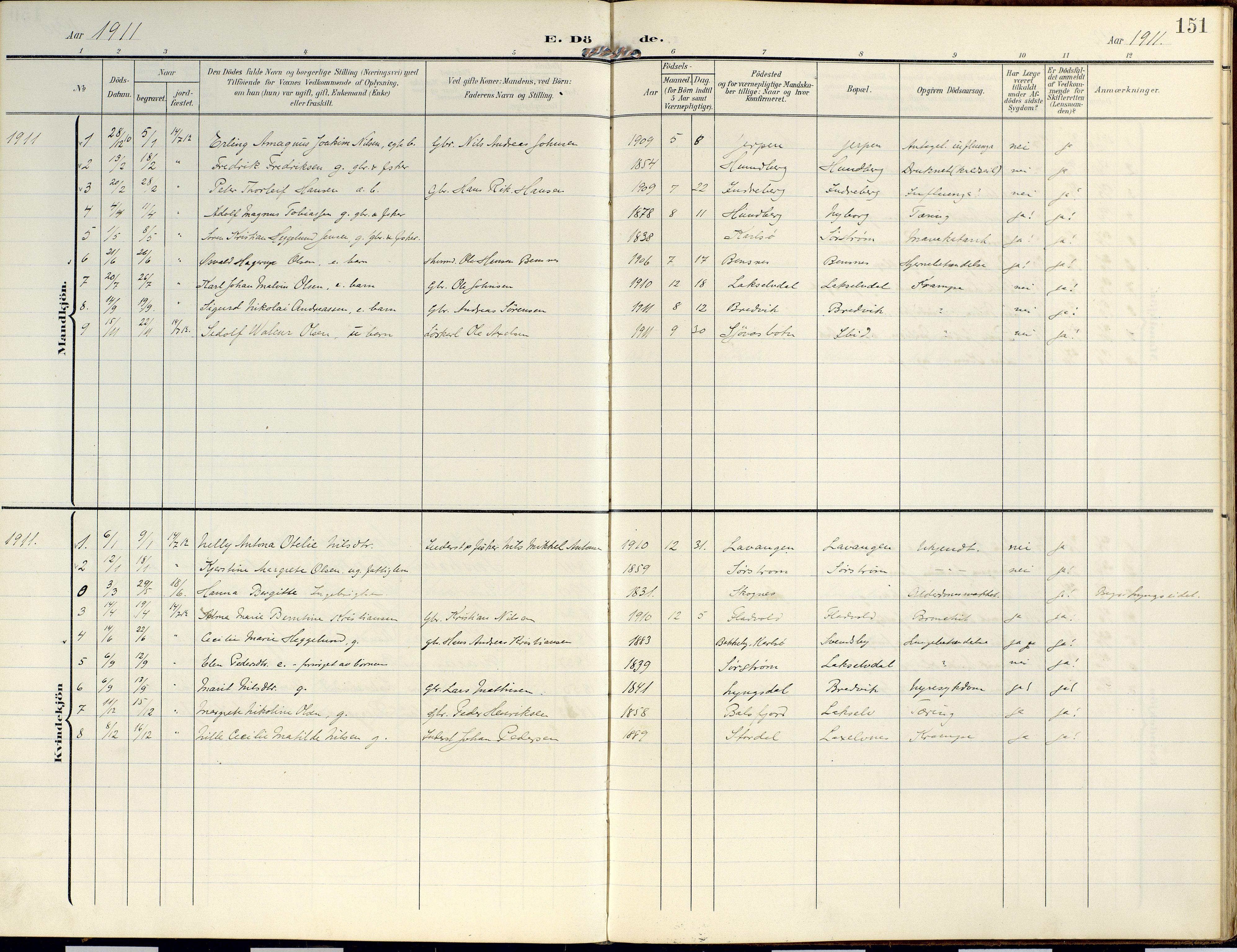 SATØ, Lyngen sokneprestembete, Ministerialbok nr. 14, 1905-1920, s. 151