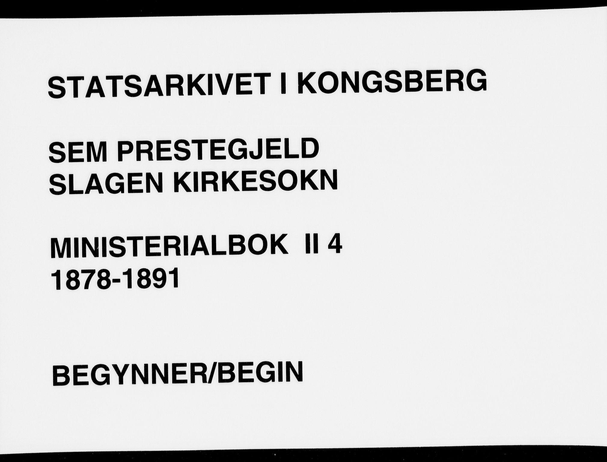 SAKO, Sem kirkebøker, F/Fb/L0004: Ministerialbok nr. II 4, 1878-1891