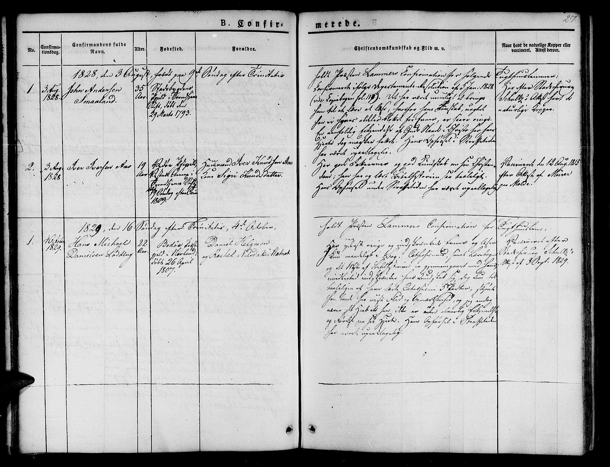 SAT, Ministerialprotokoller, klokkerbøker og fødselsregistre - Sør-Trøndelag, 623/L0468: Ministerialbok nr. 623A02, 1826-1867, s. 27