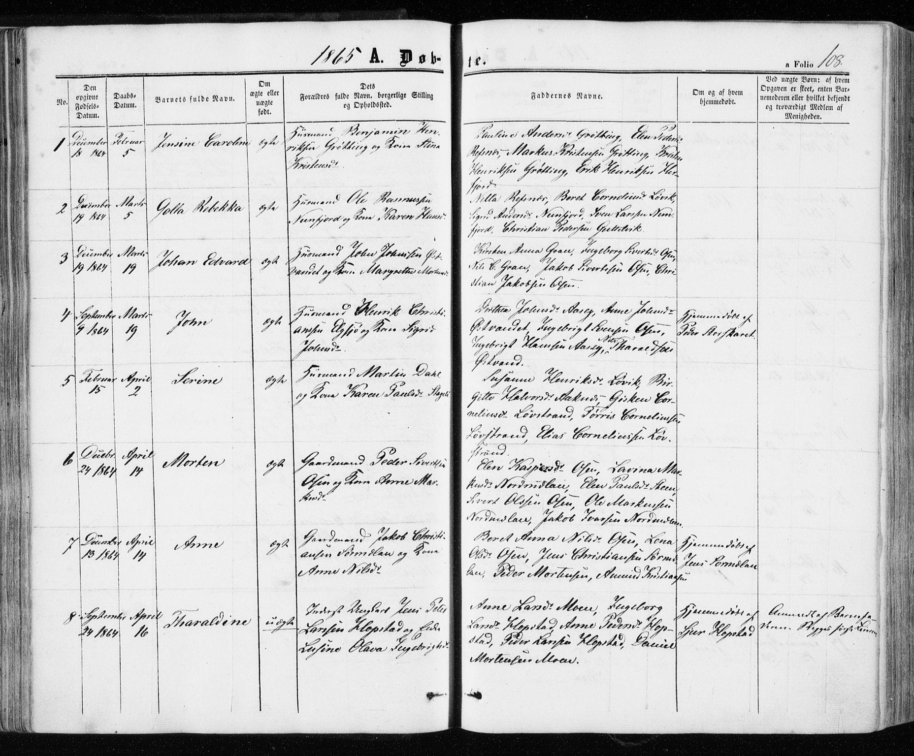 SAT, Ministerialprotokoller, klokkerbøker og fødselsregistre - Sør-Trøndelag, 657/L0705: Ministerialbok nr. 657A06, 1858-1867, s. 108