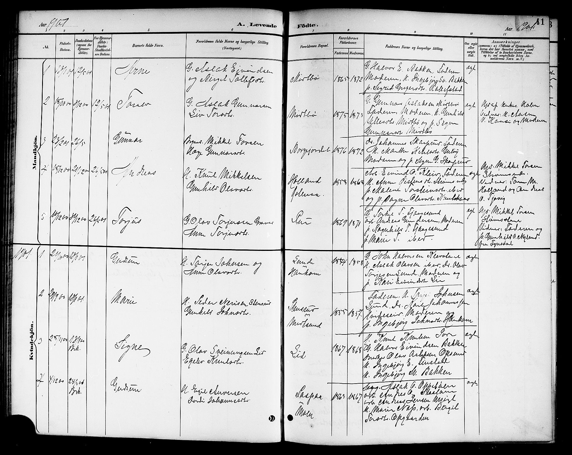 SAKO, Kviteseid kirkebøker, G/Ga/L0002: Klokkerbok nr. I 2, 1893-1918, s. 41