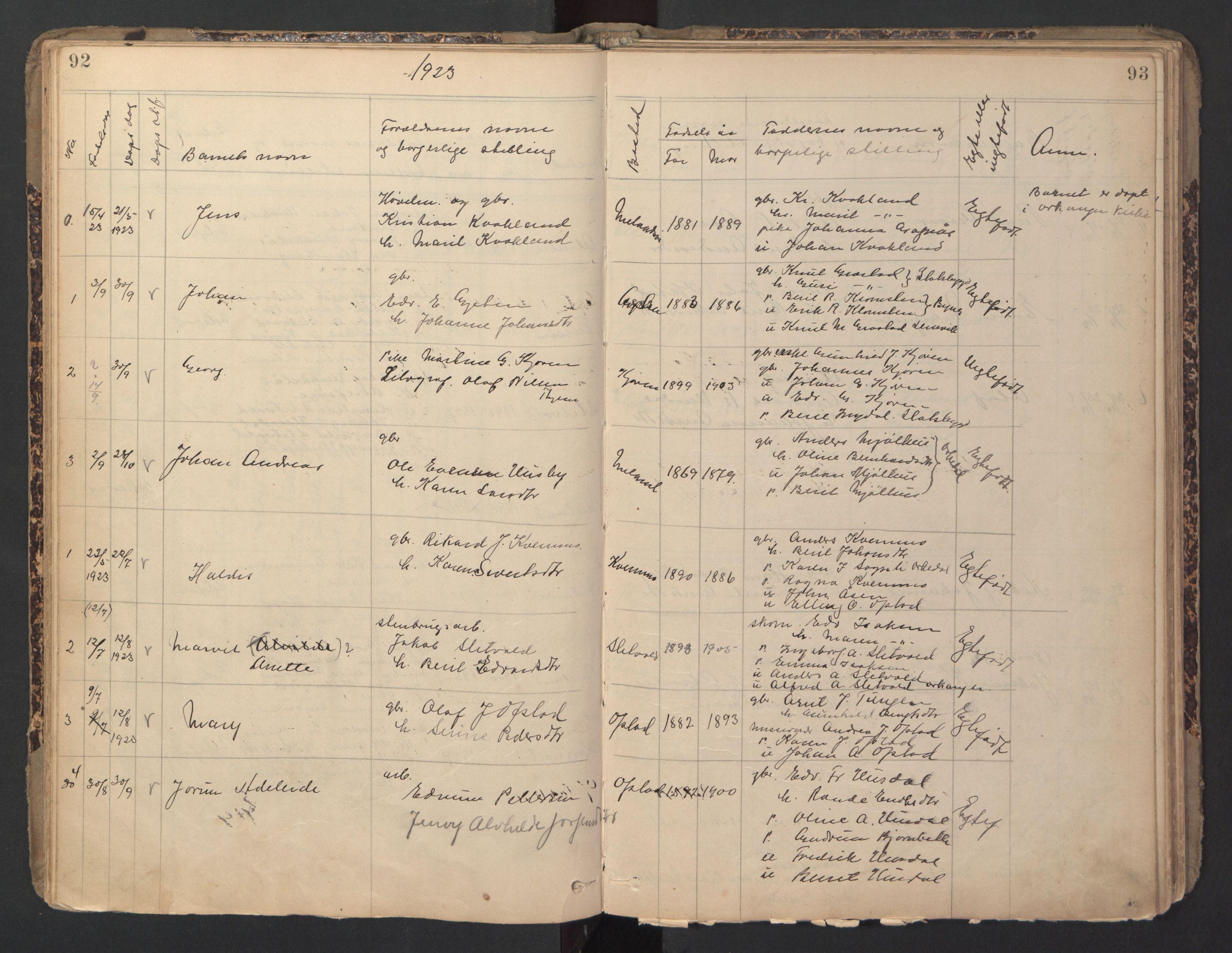 SAT, Ministerialprotokoller, klokkerbøker og fødselsregistre - Sør-Trøndelag, 670/L0837: Klokkerbok nr. 670C01, 1905-1946, s. 92-93